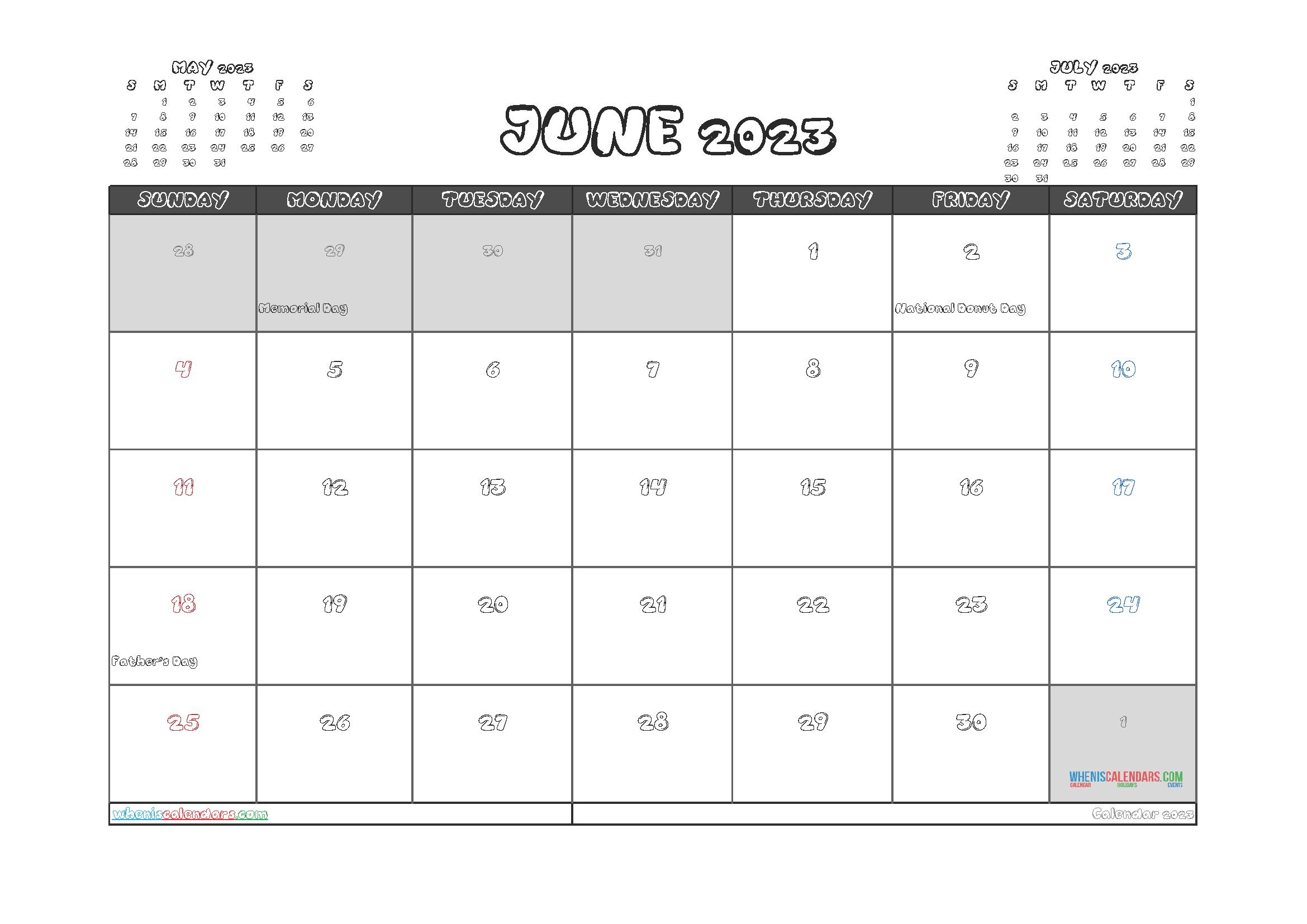 Free Printable Calendar June 2023