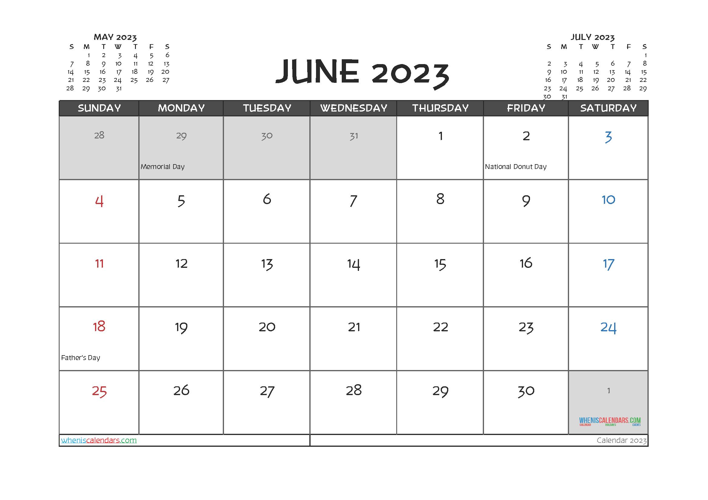 June 2023 Calendar Printable For Free