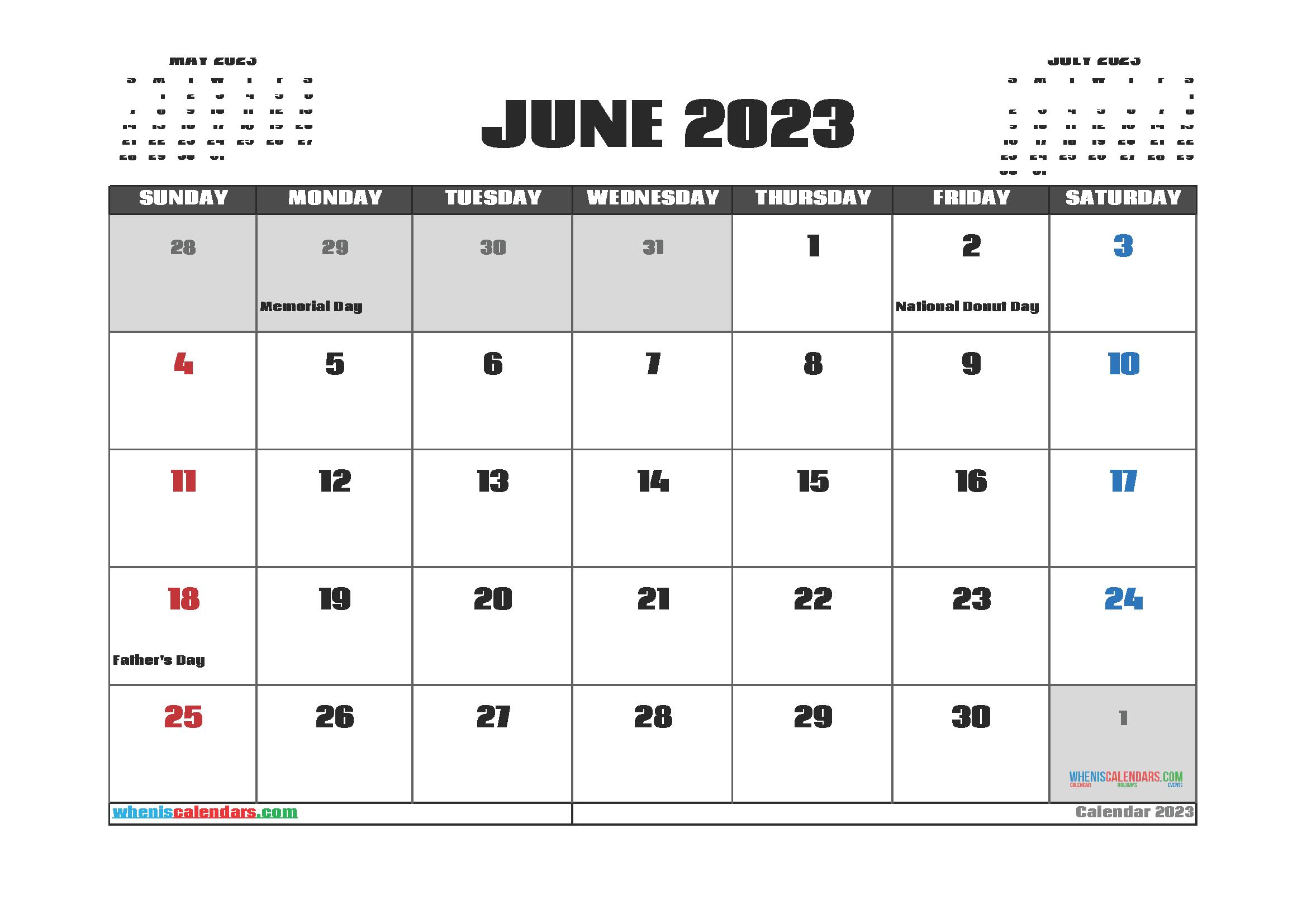 Free June 2023 Printable Calendar PDF