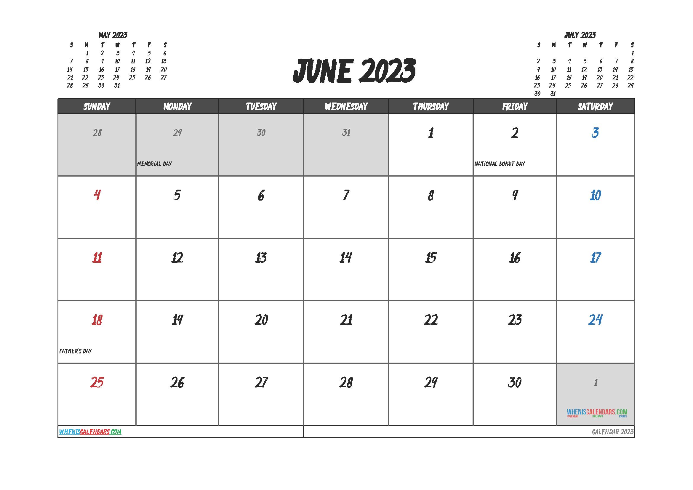 Free Editable Calendar June 2023 PDF