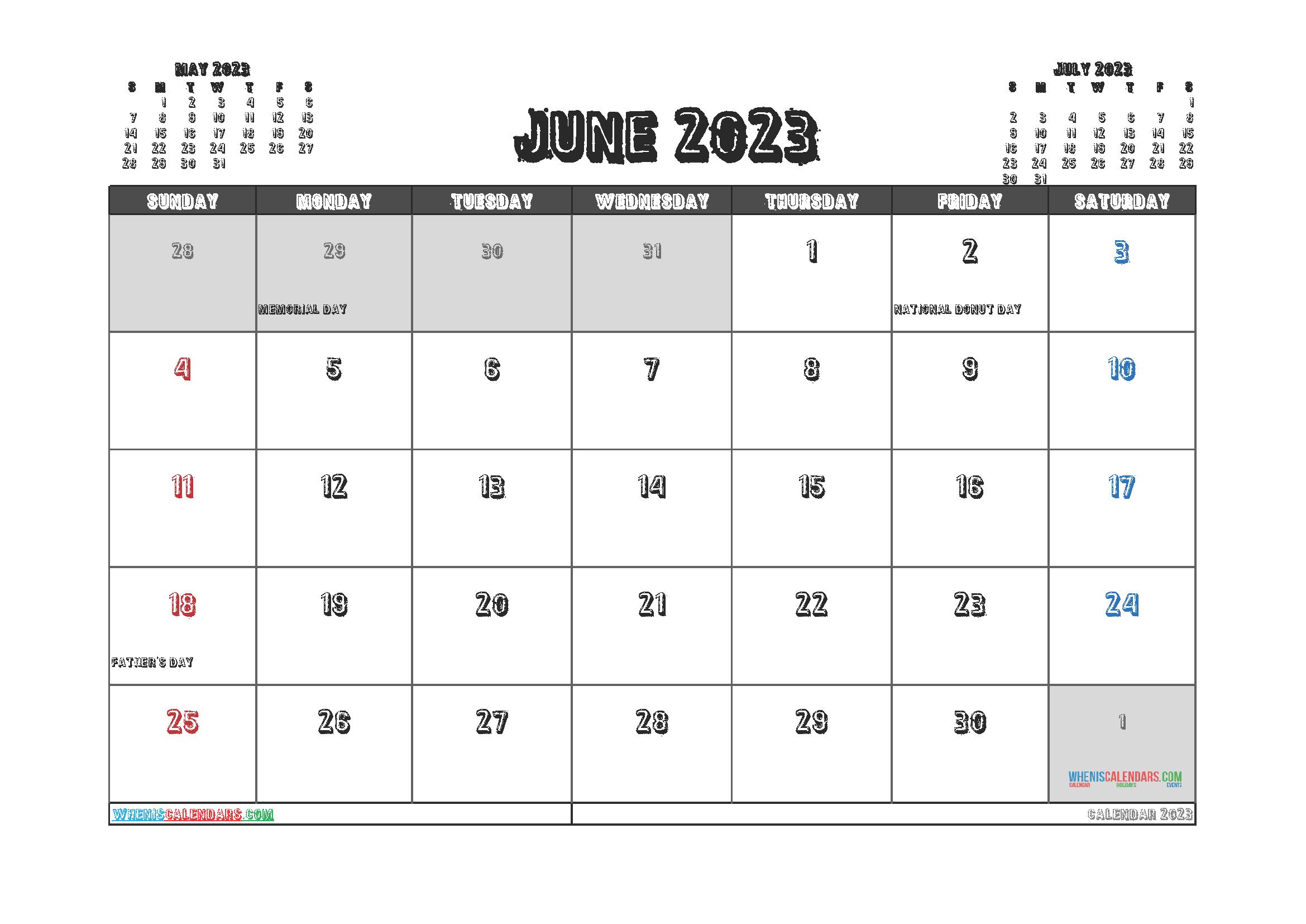 Free June 2023 Printable Calendar