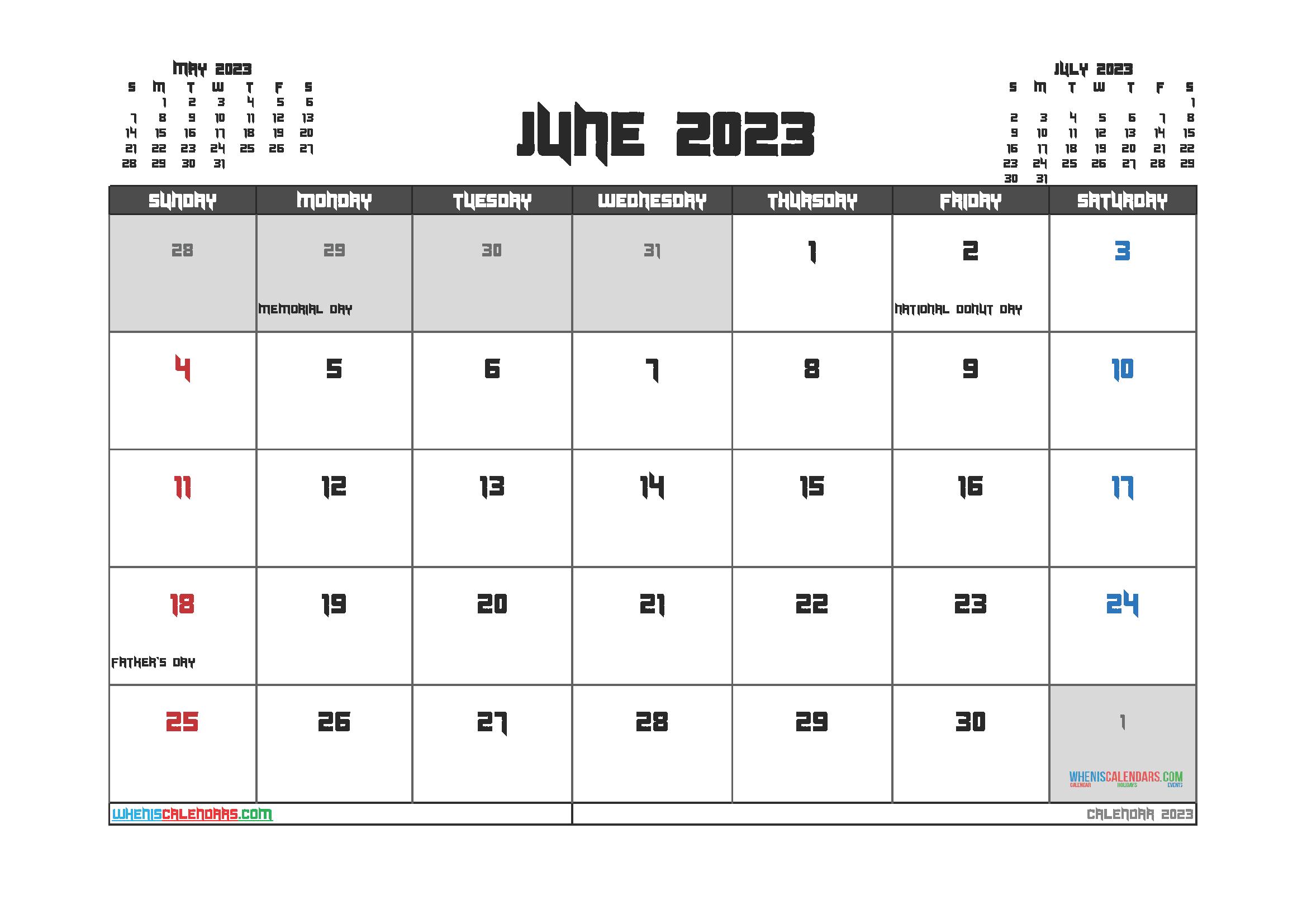 Free Printable June 2023 Calendar
