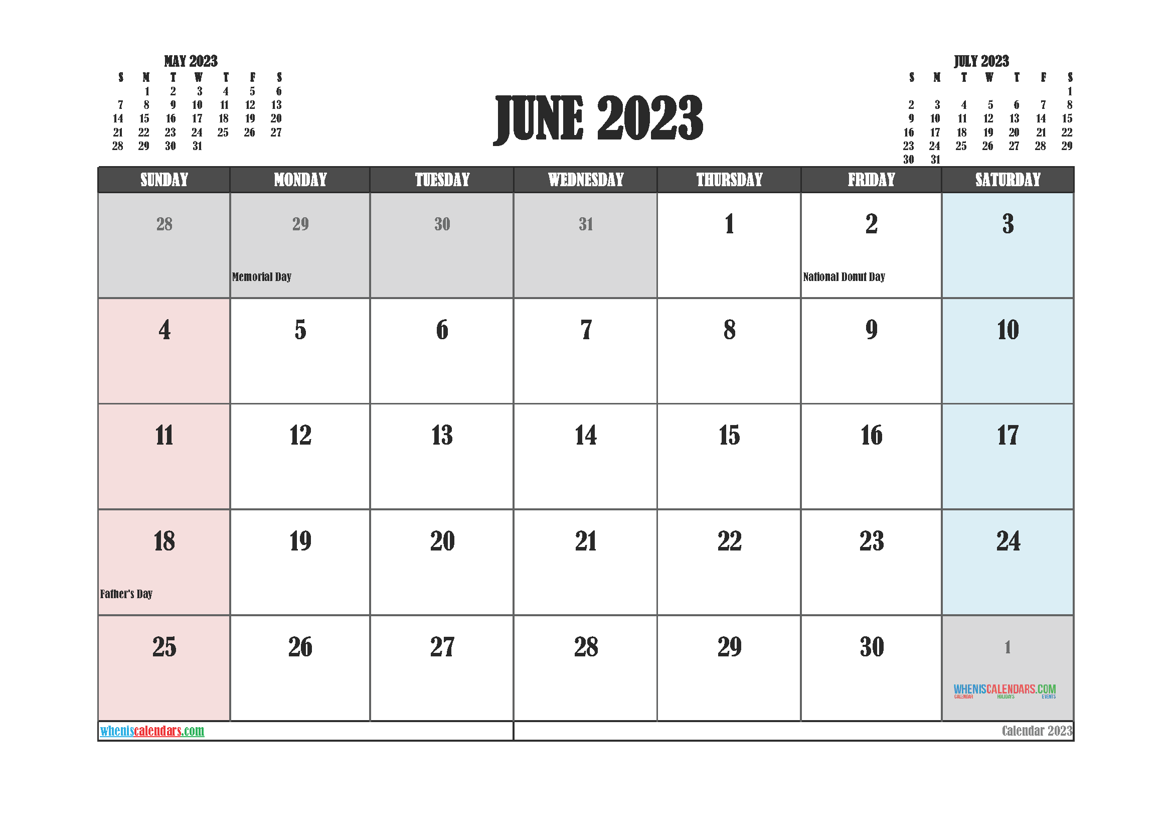 June 2023 Calendar Printable For Free