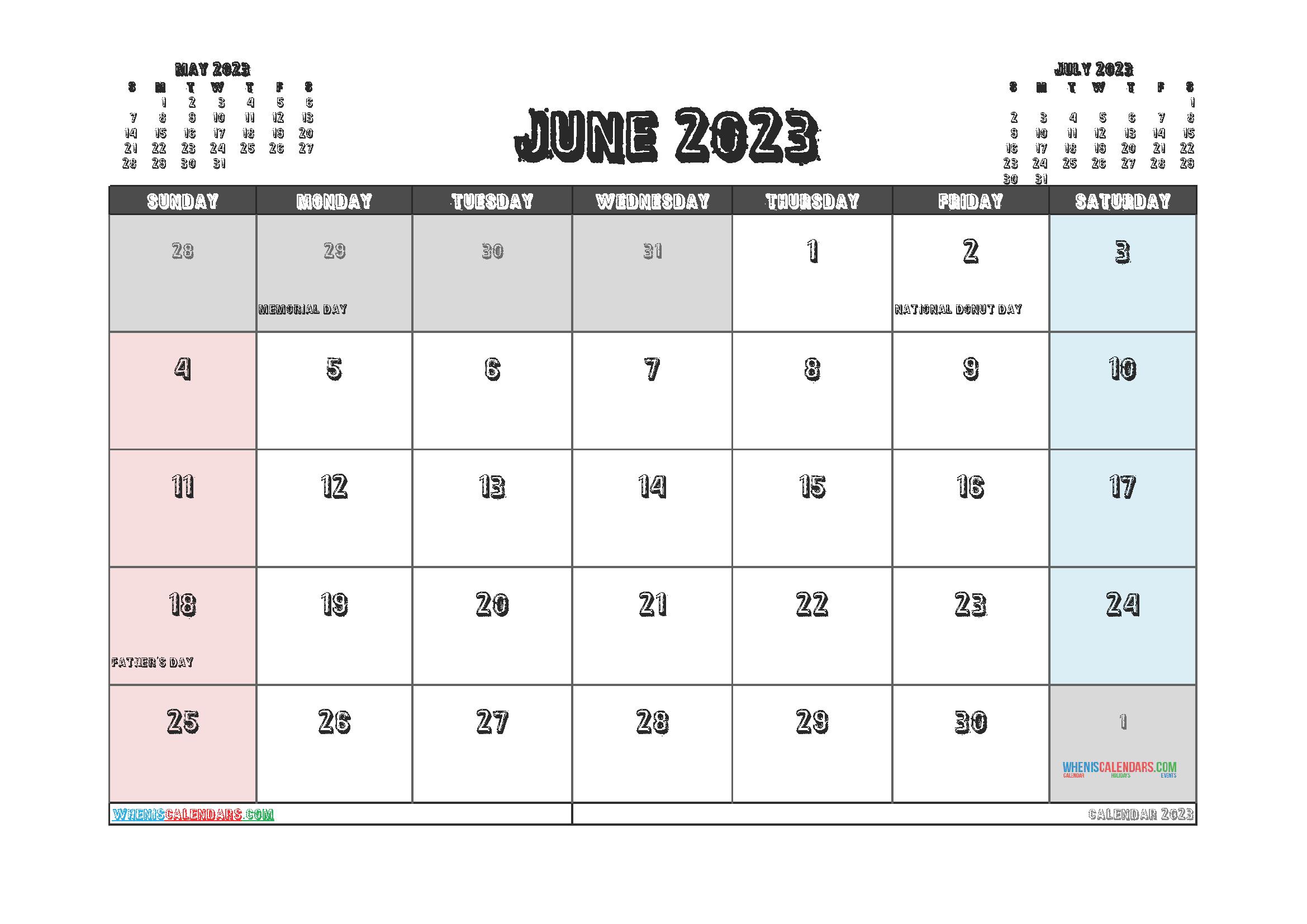 Editable June 2023 Calendar Printable