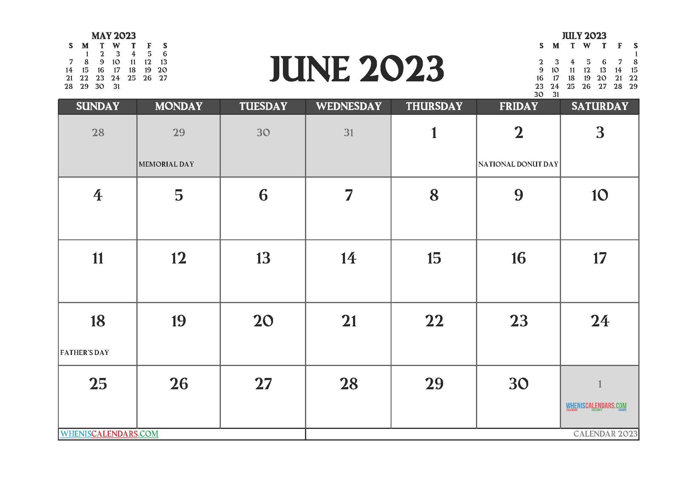 June 2023 Calendar Printable Free