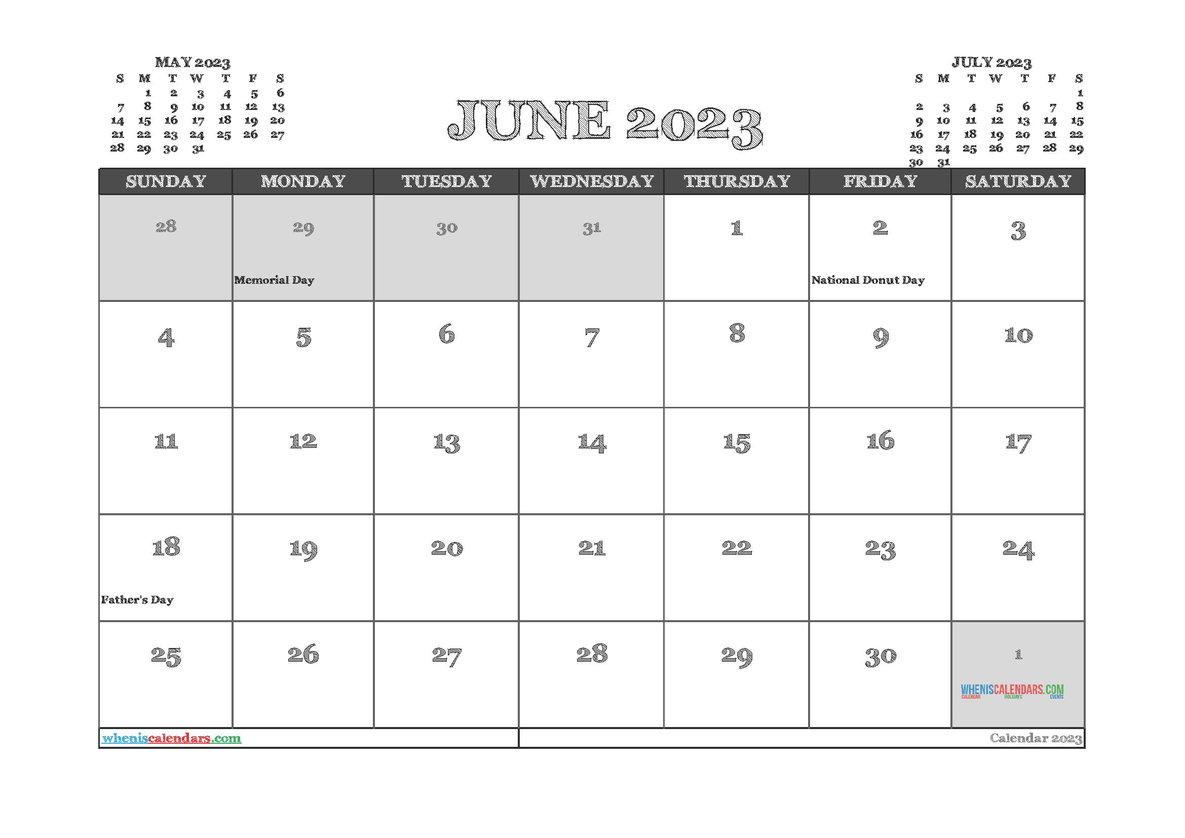 Printable June 2023 Calendar PDF