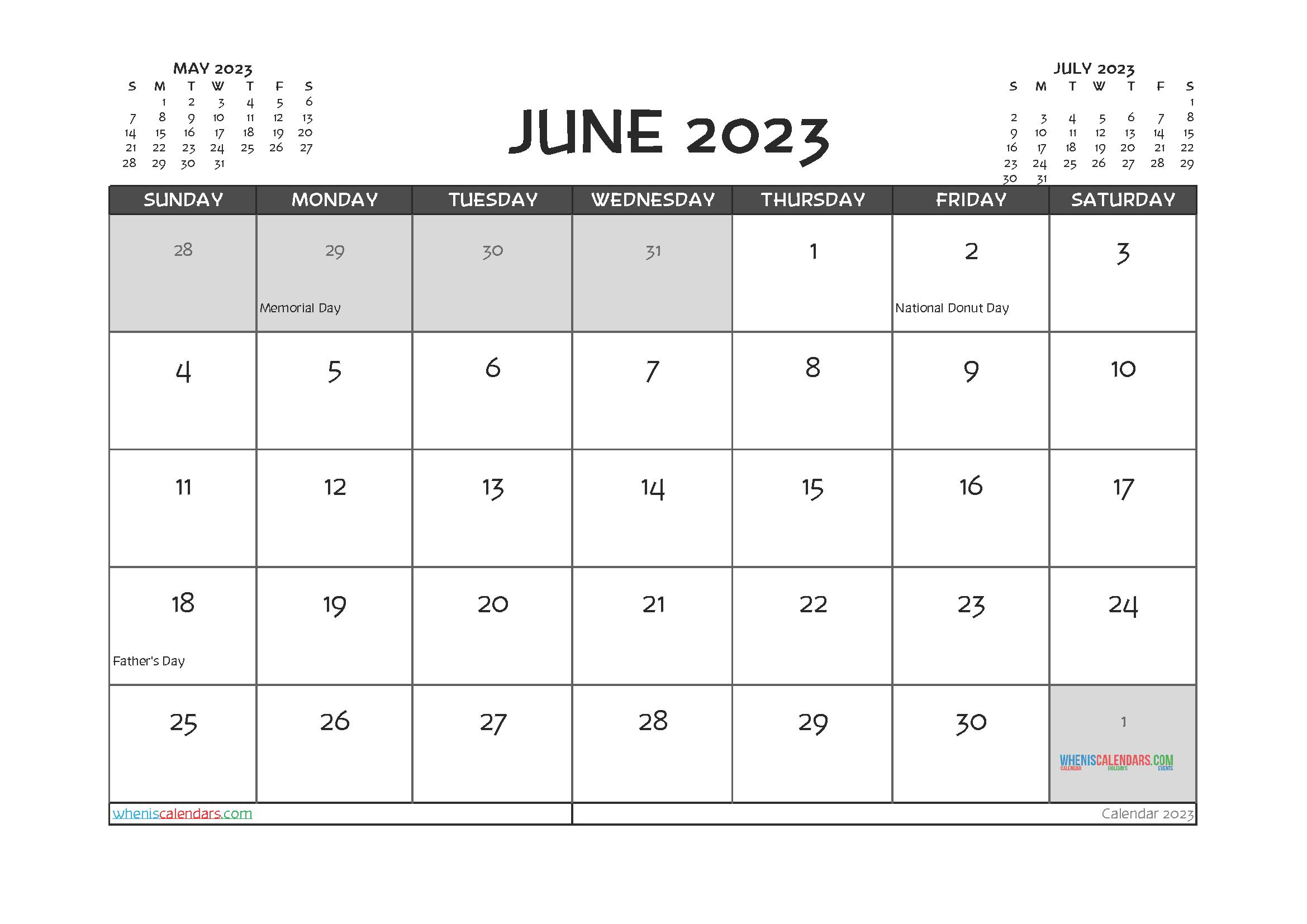 Free Editable June 2023 Calendar