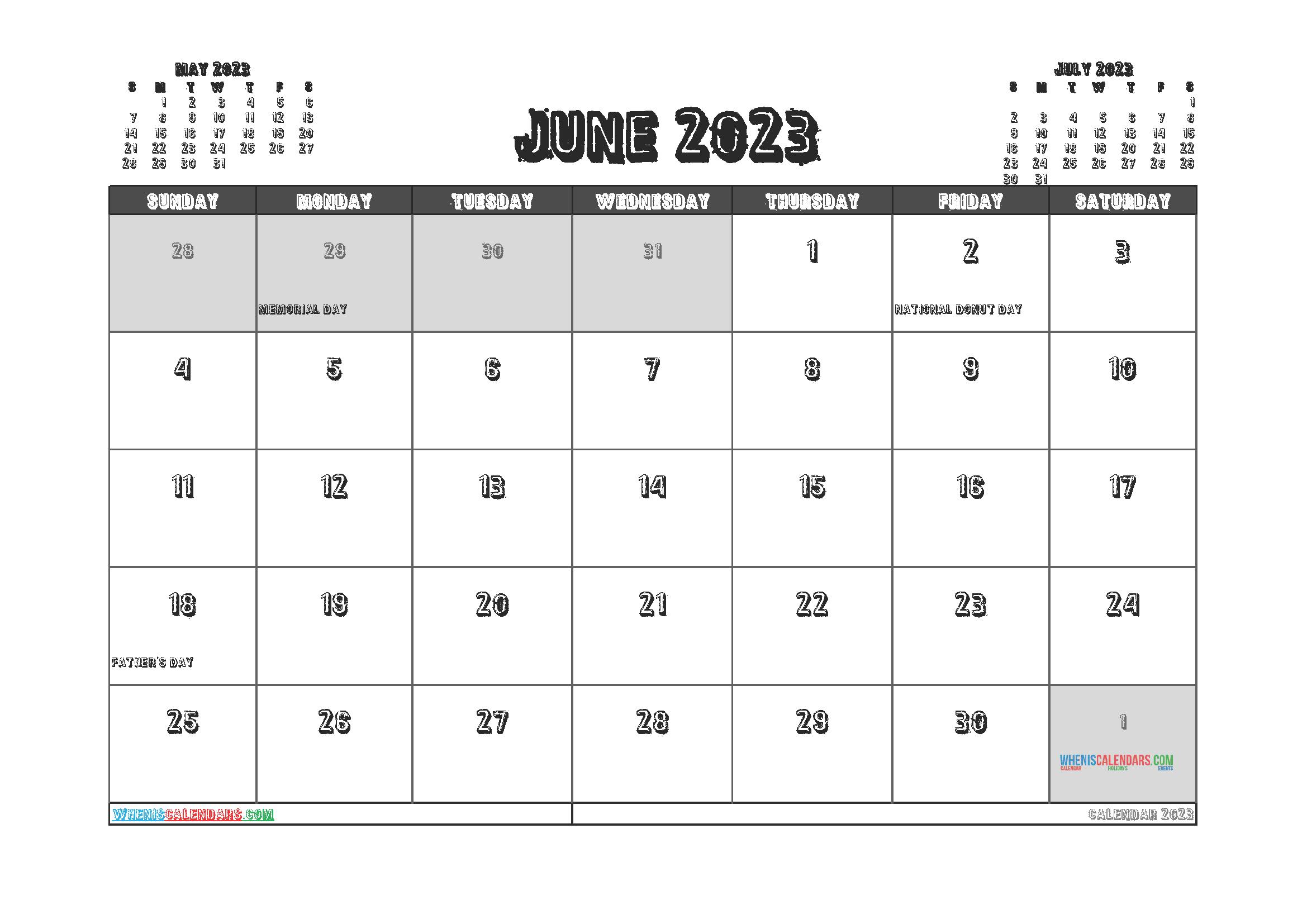 Printable Calendar June 2023 Free