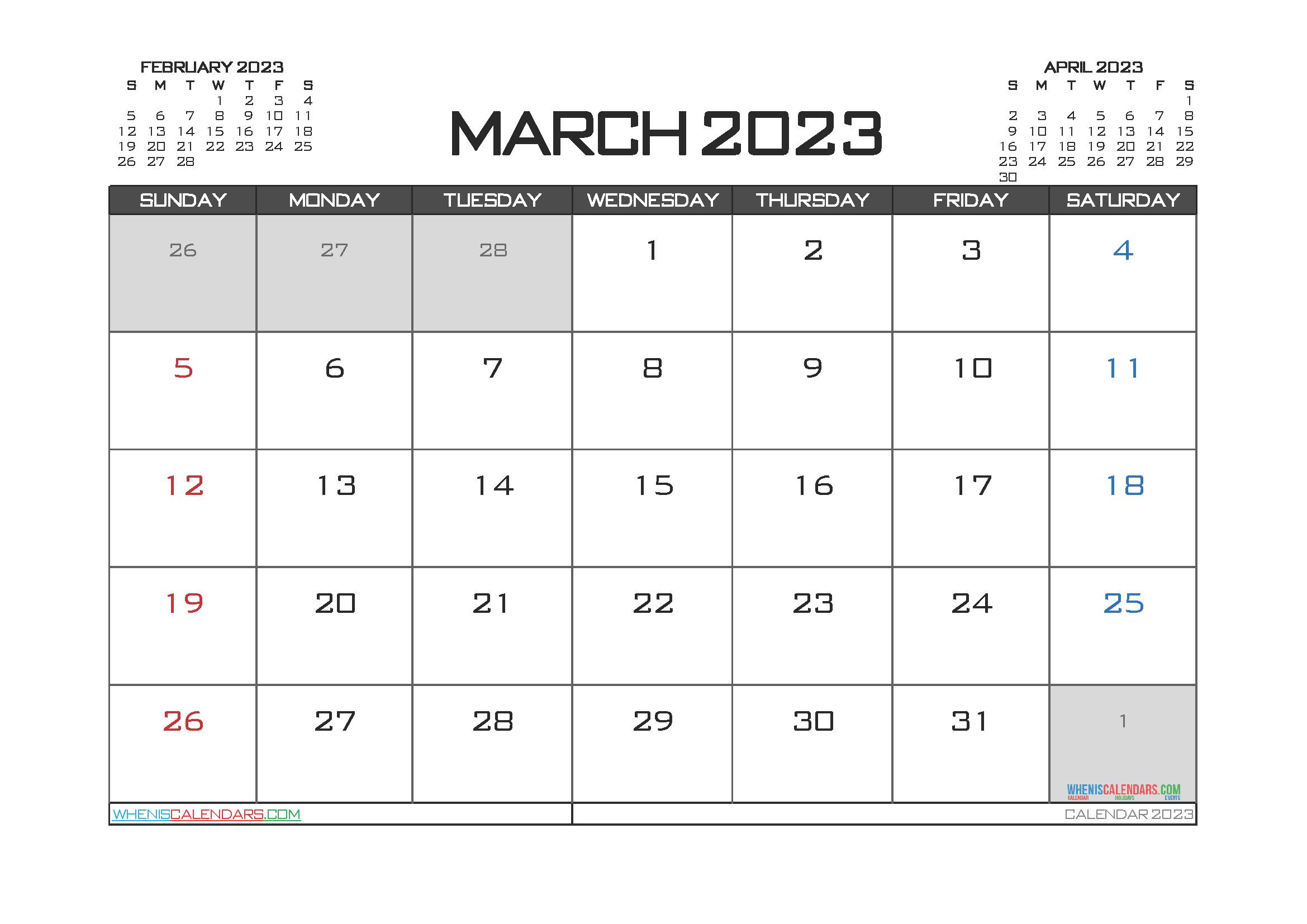 March 2023 Calendar Printable Free