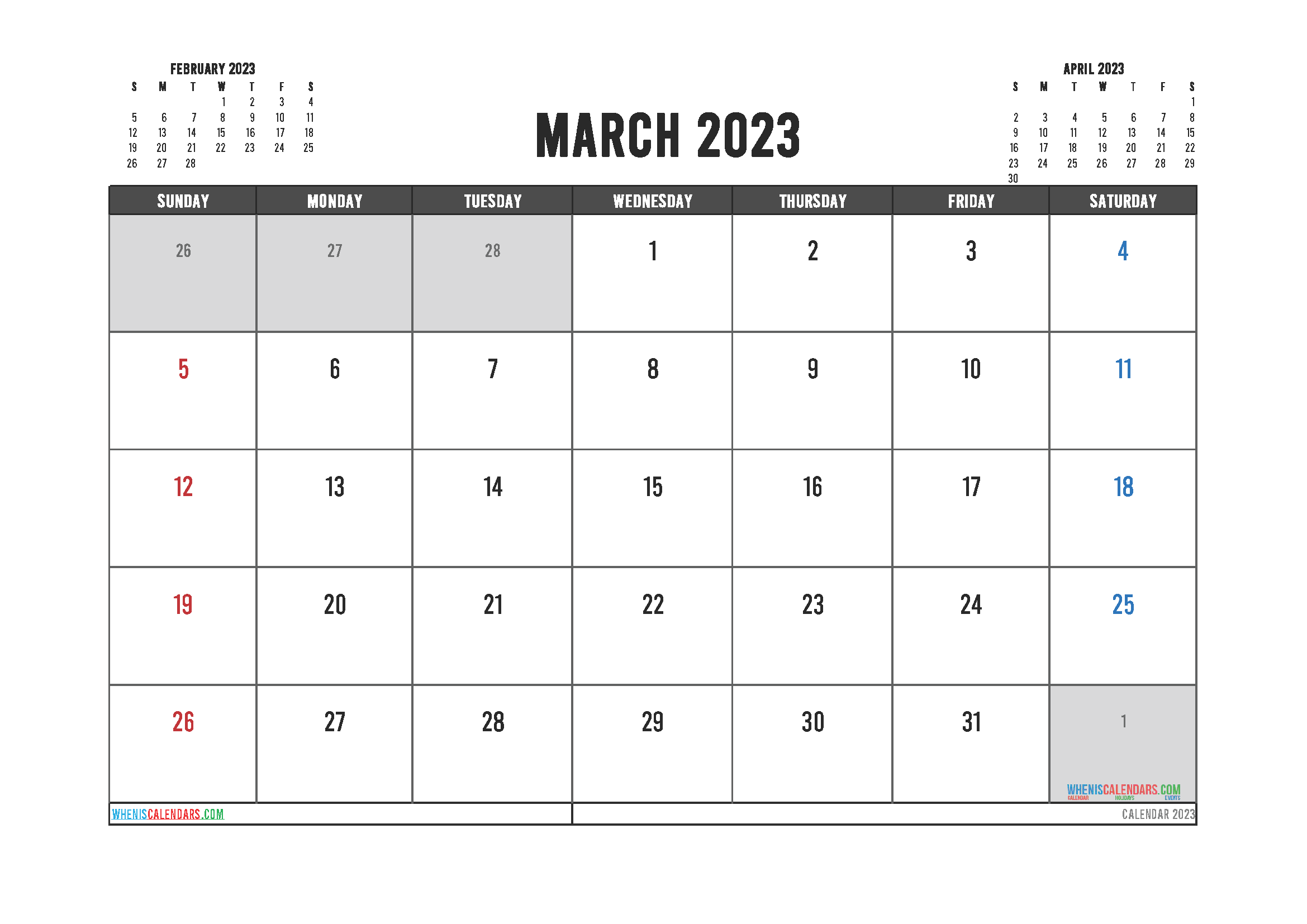 Editable Printable March 2023 Calendar