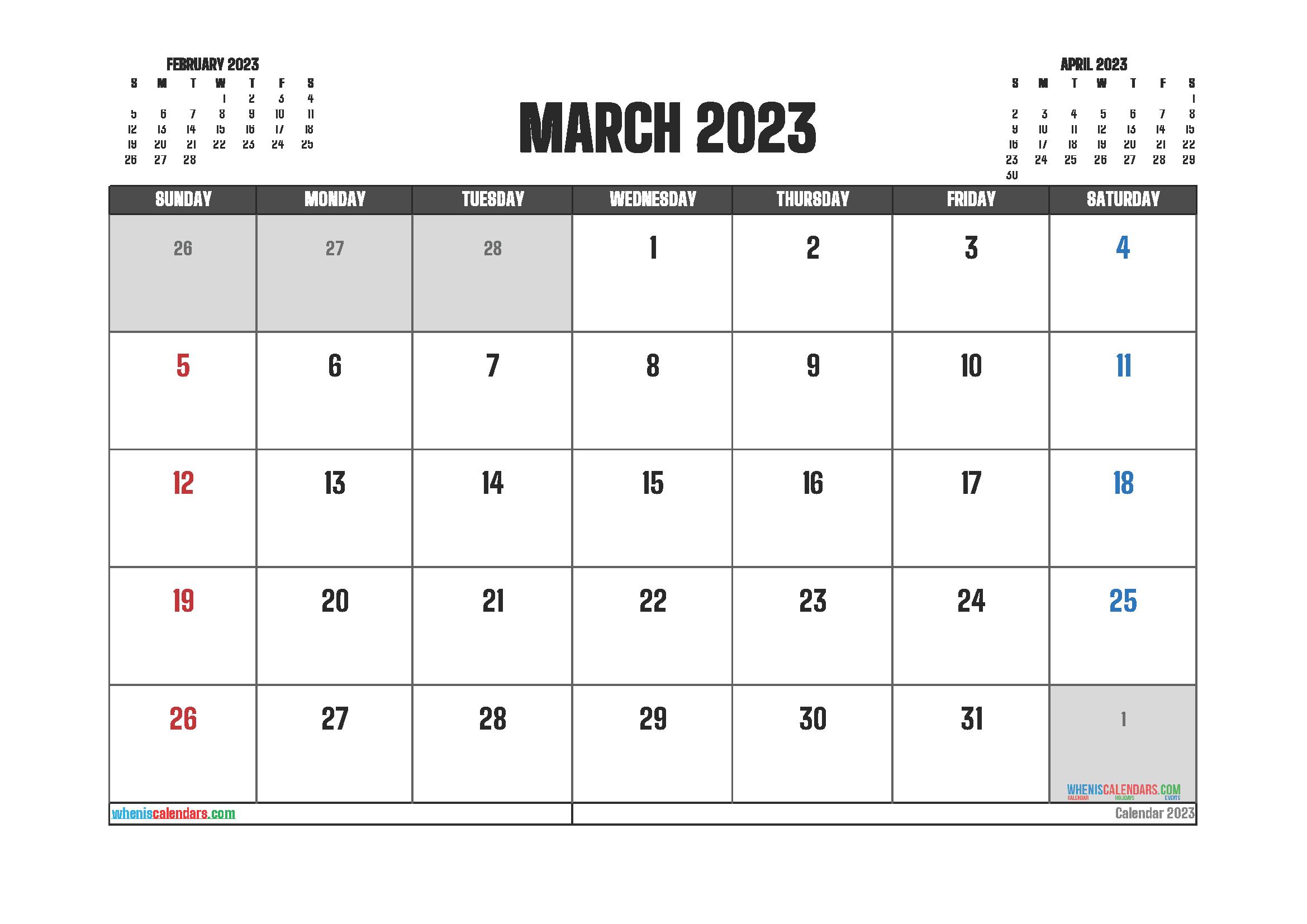 Editable March 2023 Calendar Printable