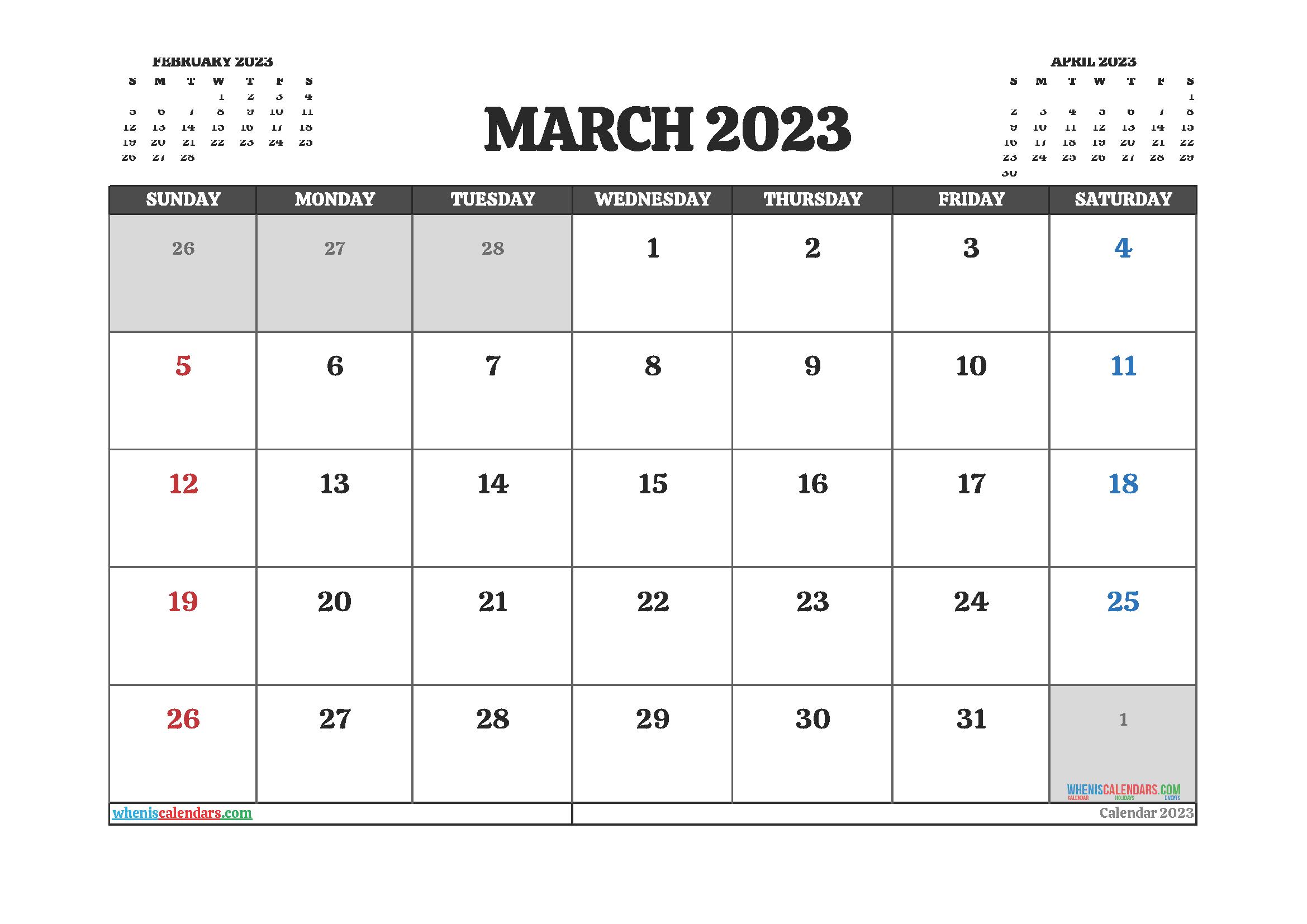 March 2023 Free Calendar Printable