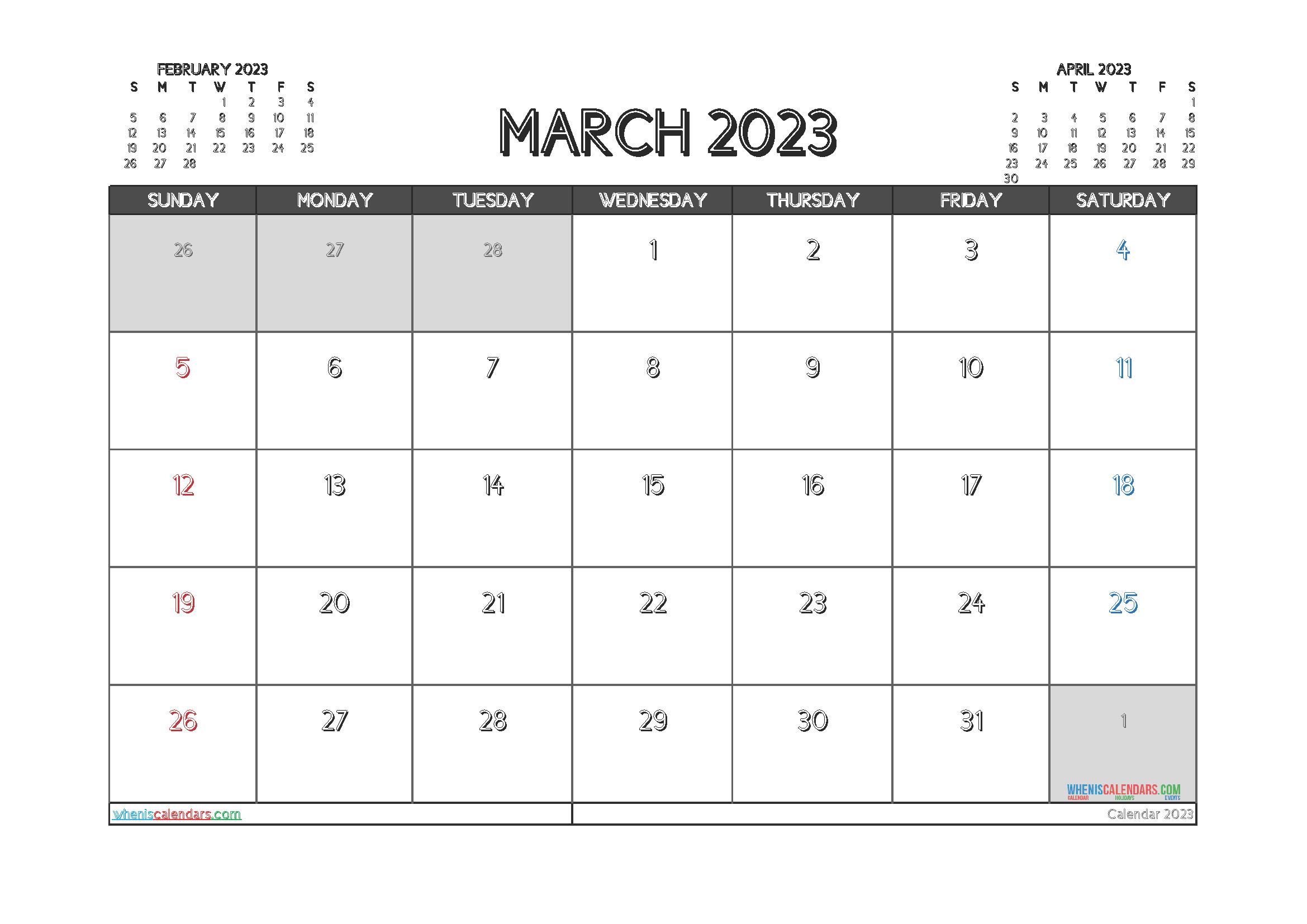 Printable March 2023 Calendar Free