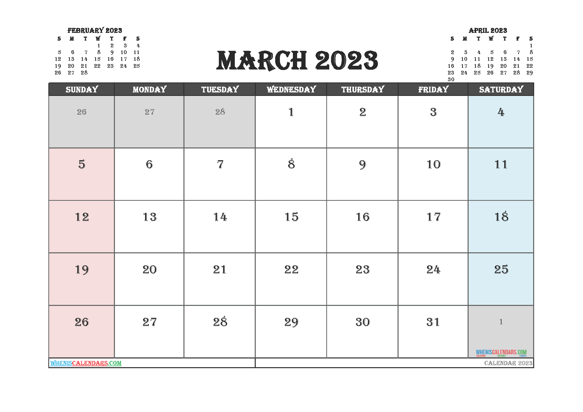 March 2023 Calendar Printable For Free