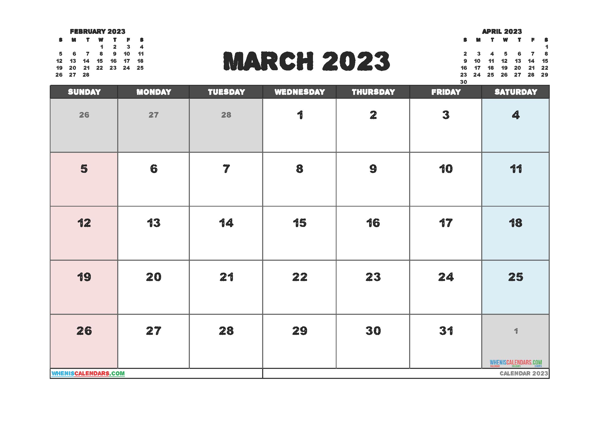 Free Printable March 2023 Calendar