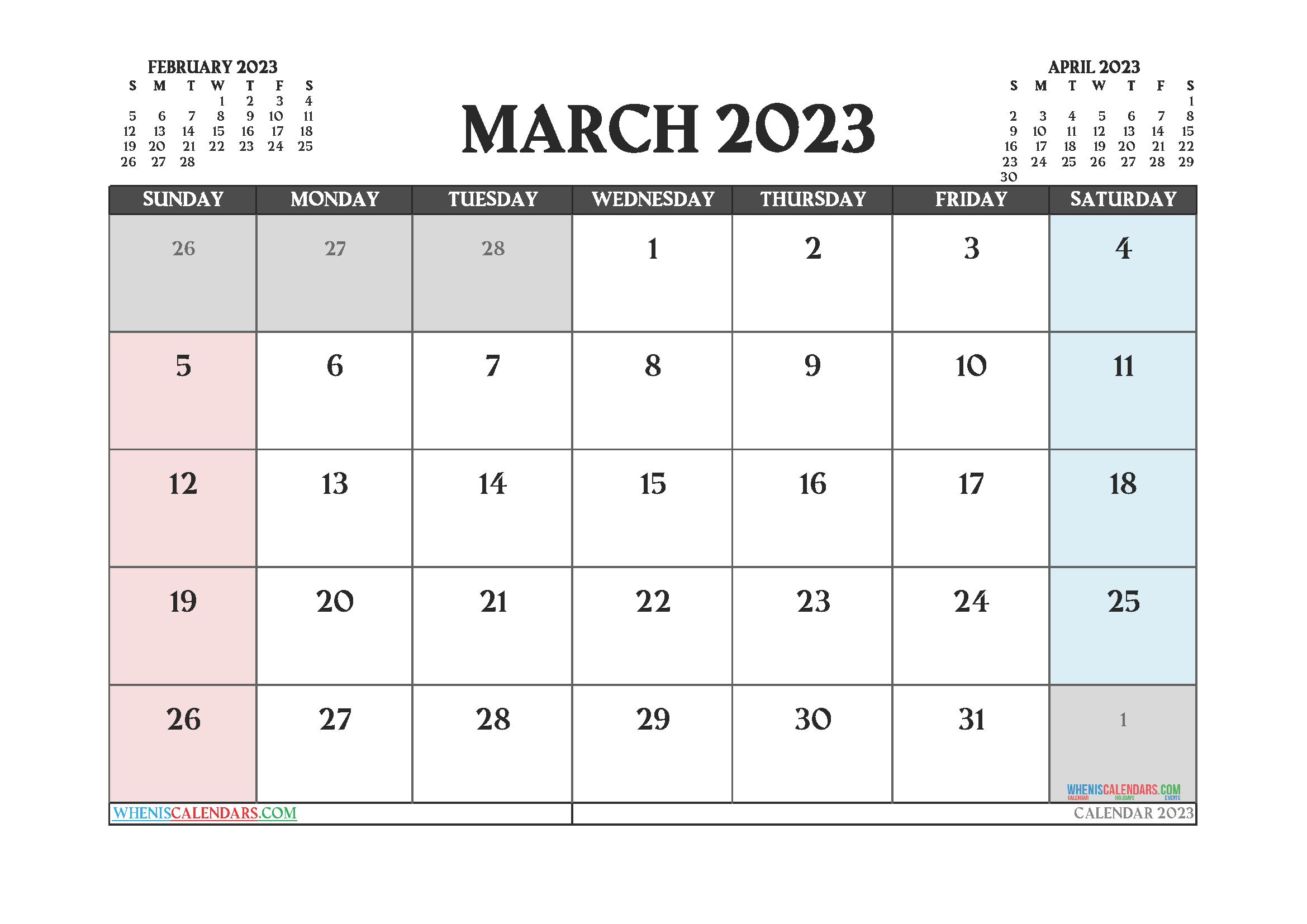 Free March 2023 Printable Calendar PDF