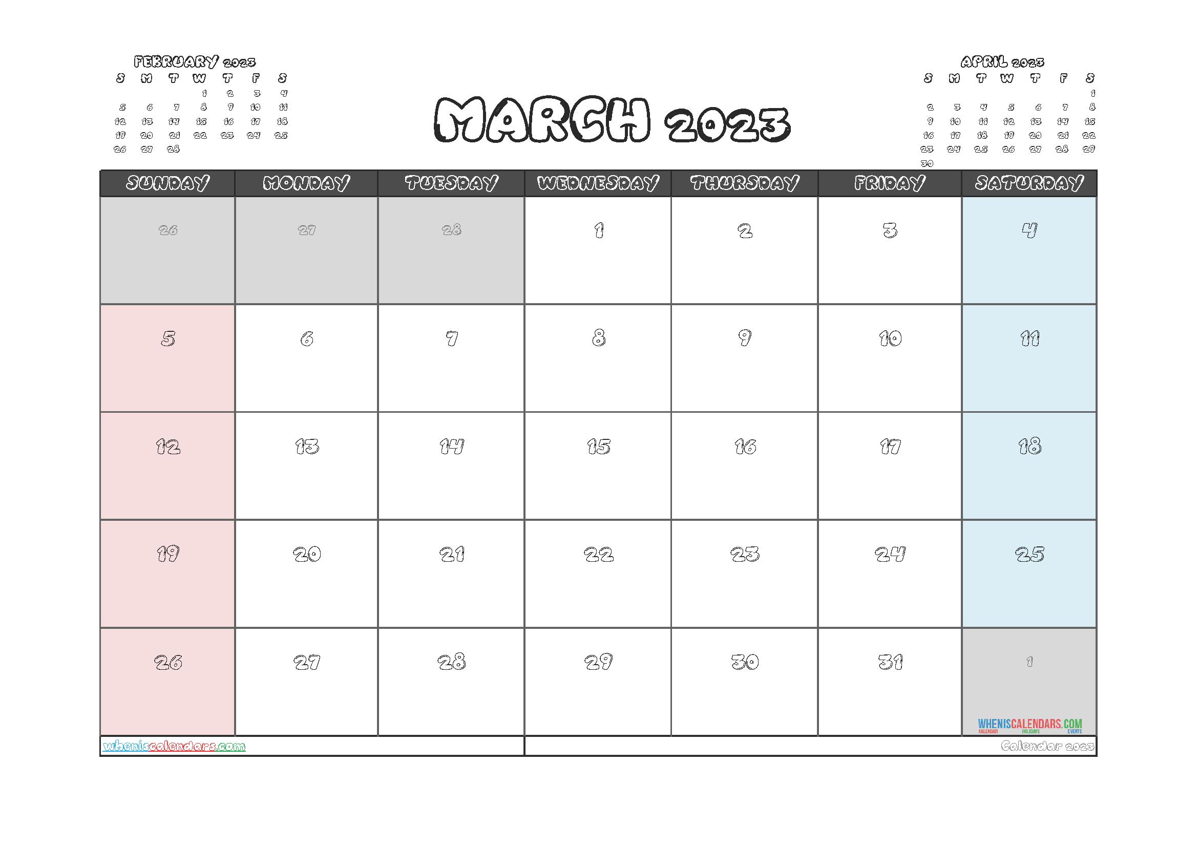 Free Editable Calendar March 2023 PDF