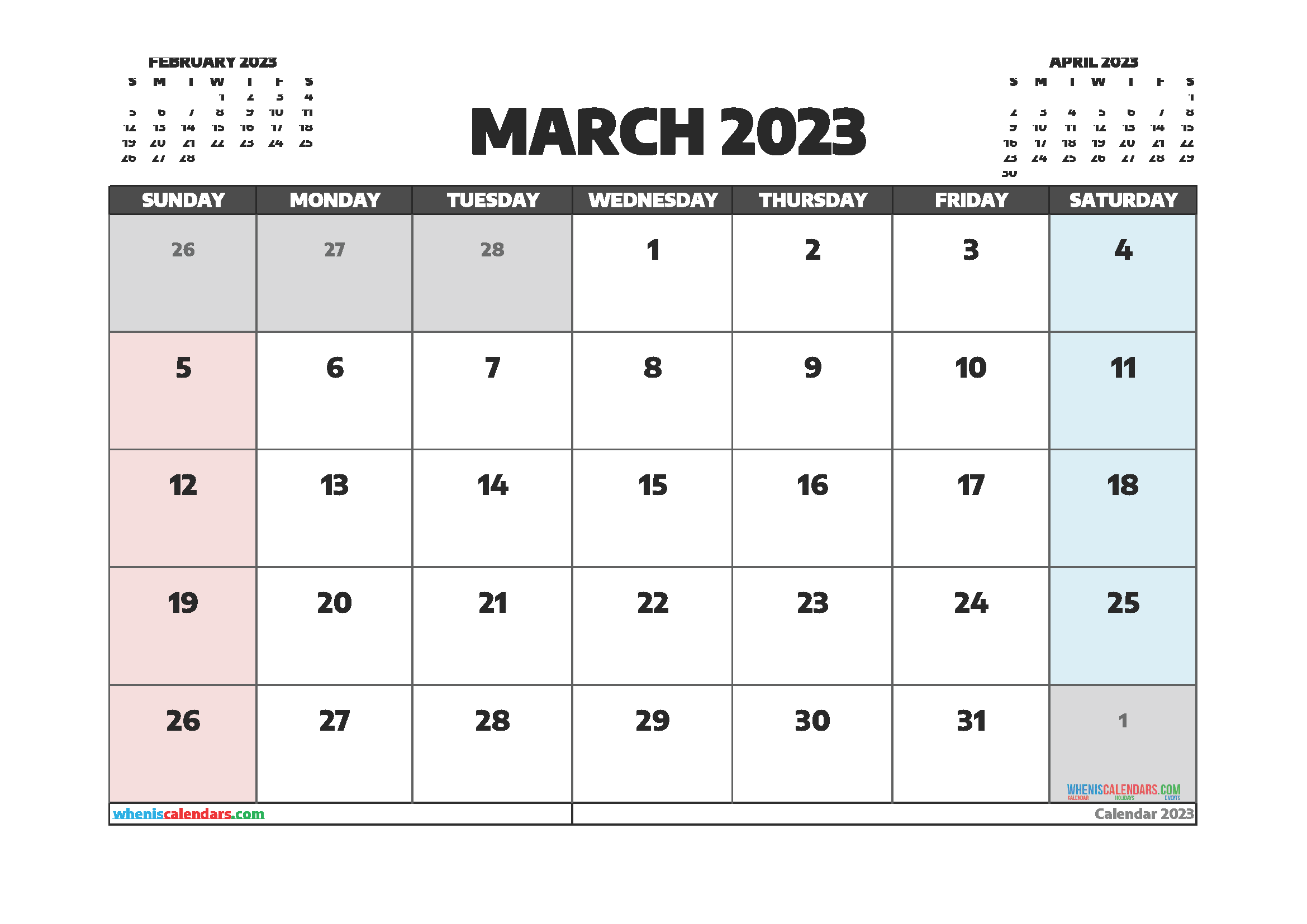 Free Editable March 2023 Printable Calendar