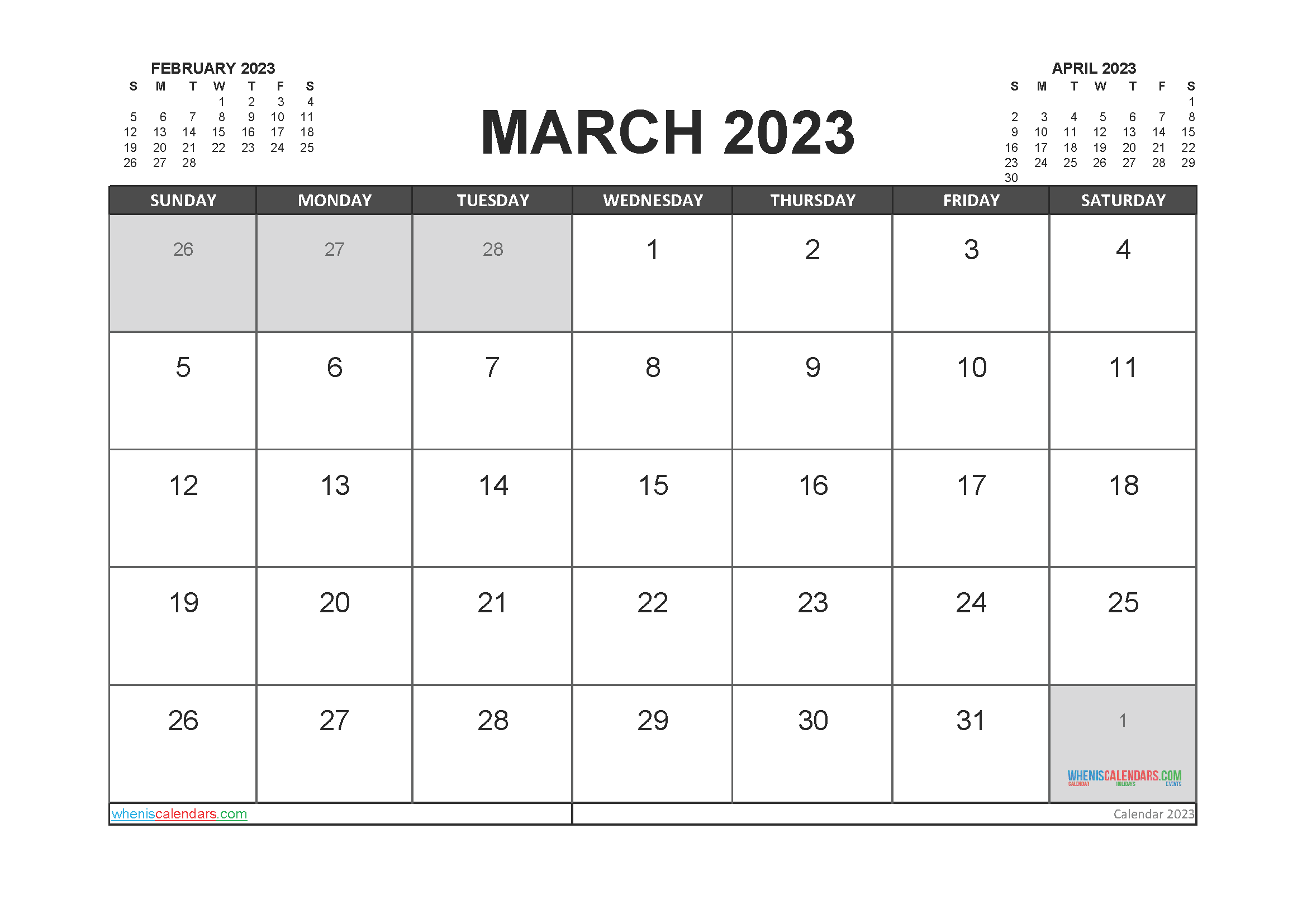 Printable Calendar March 2023 Free