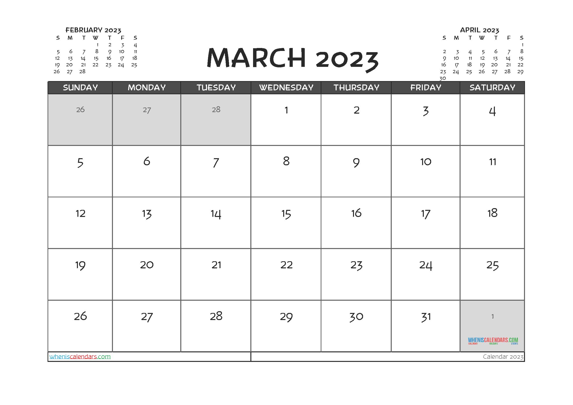Free Editable March 2023 Calendar