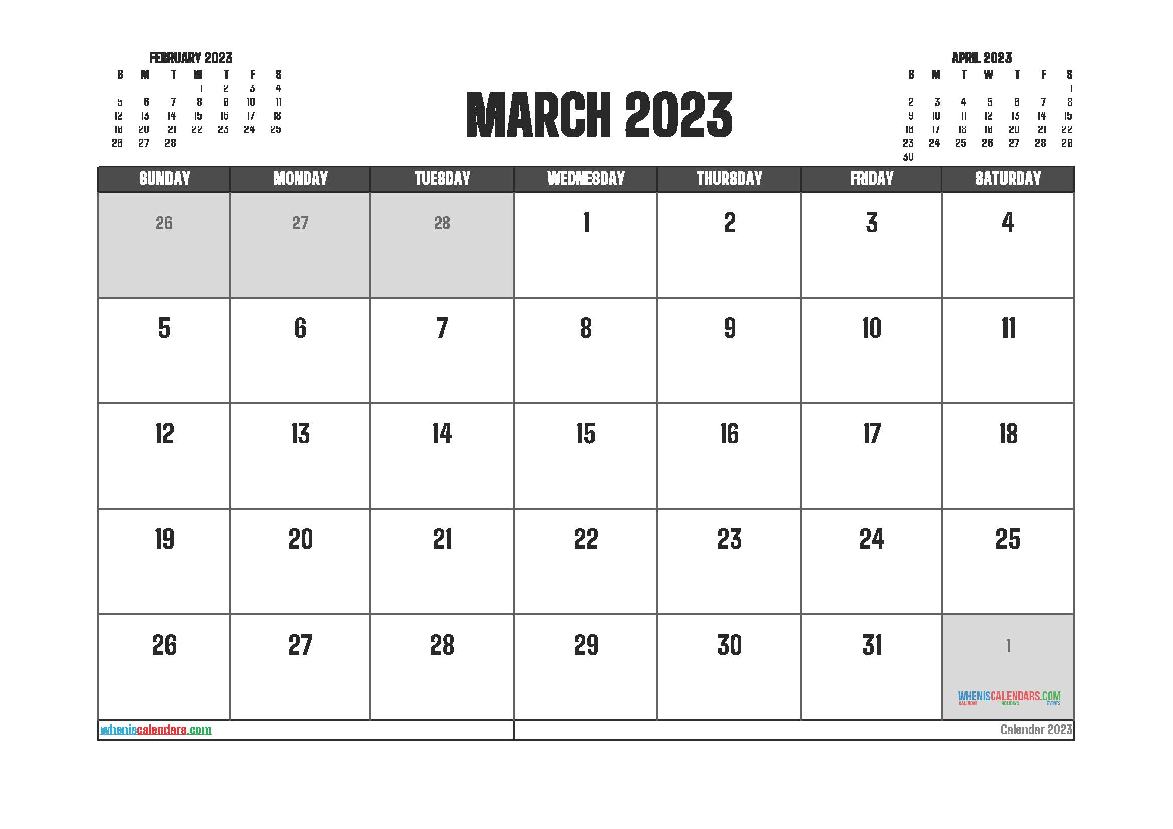 Free March 2023 Printable Calendar