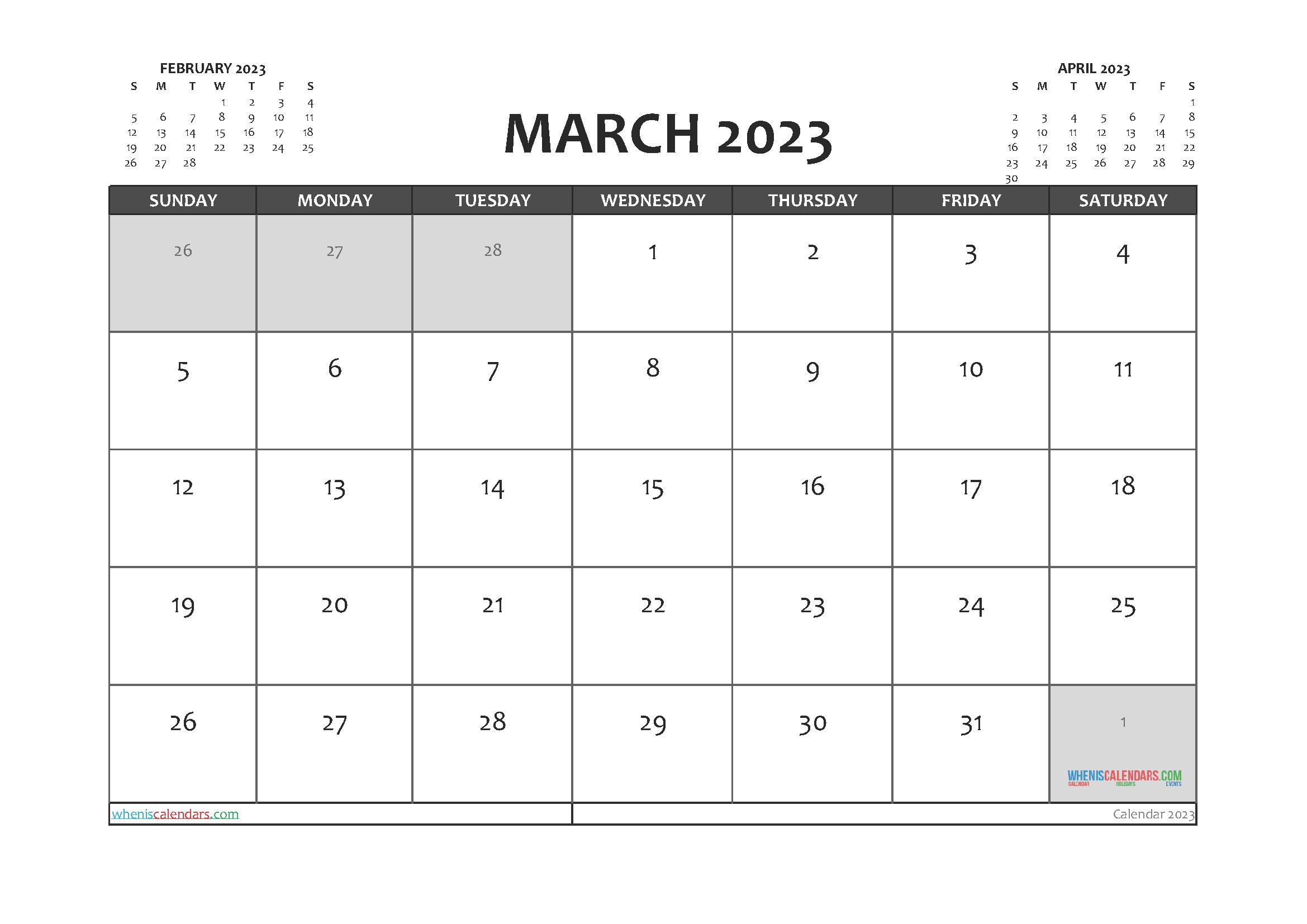 Printable March 2023 Calendar PDF