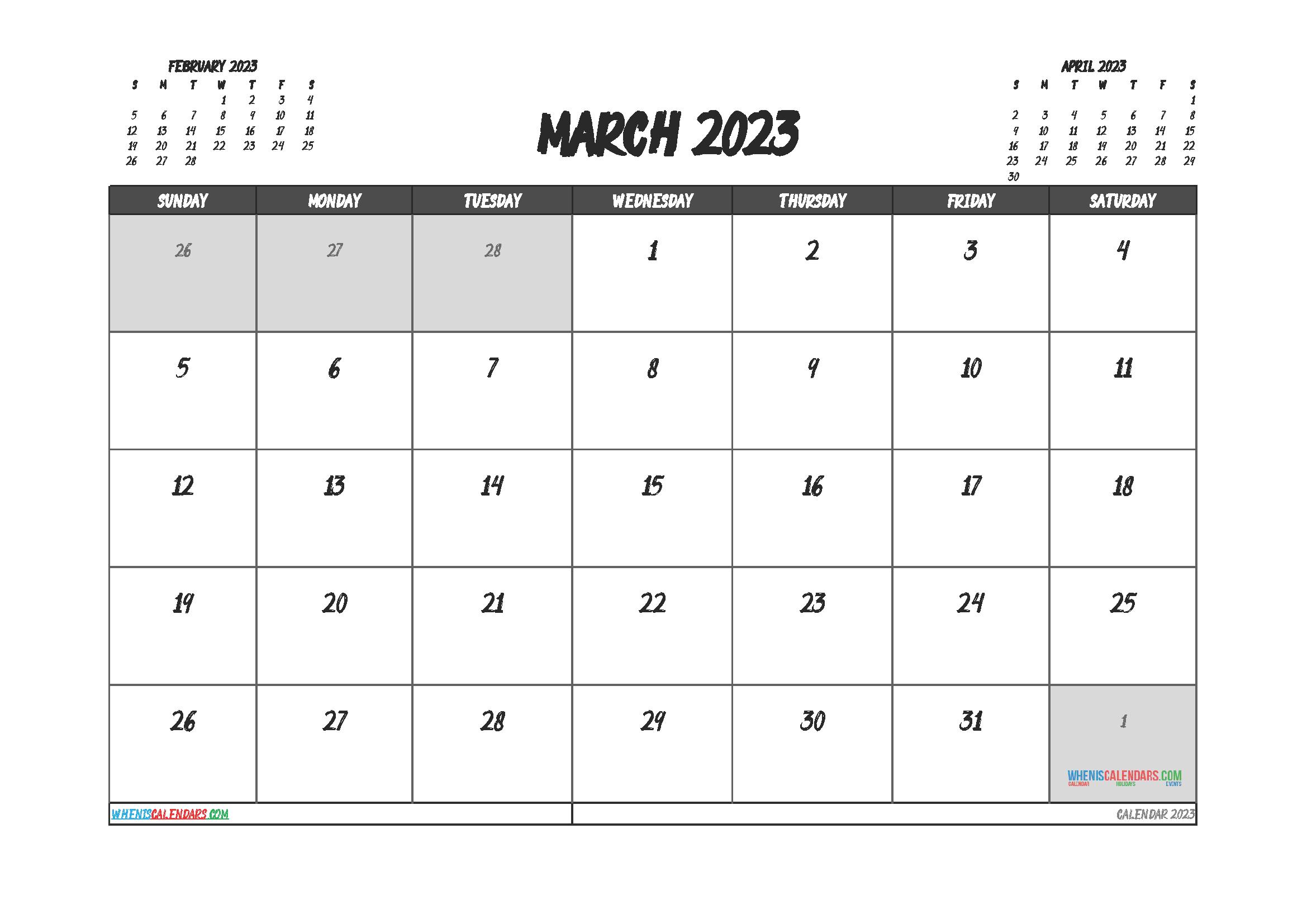 Free Printable Calendar March 2023
