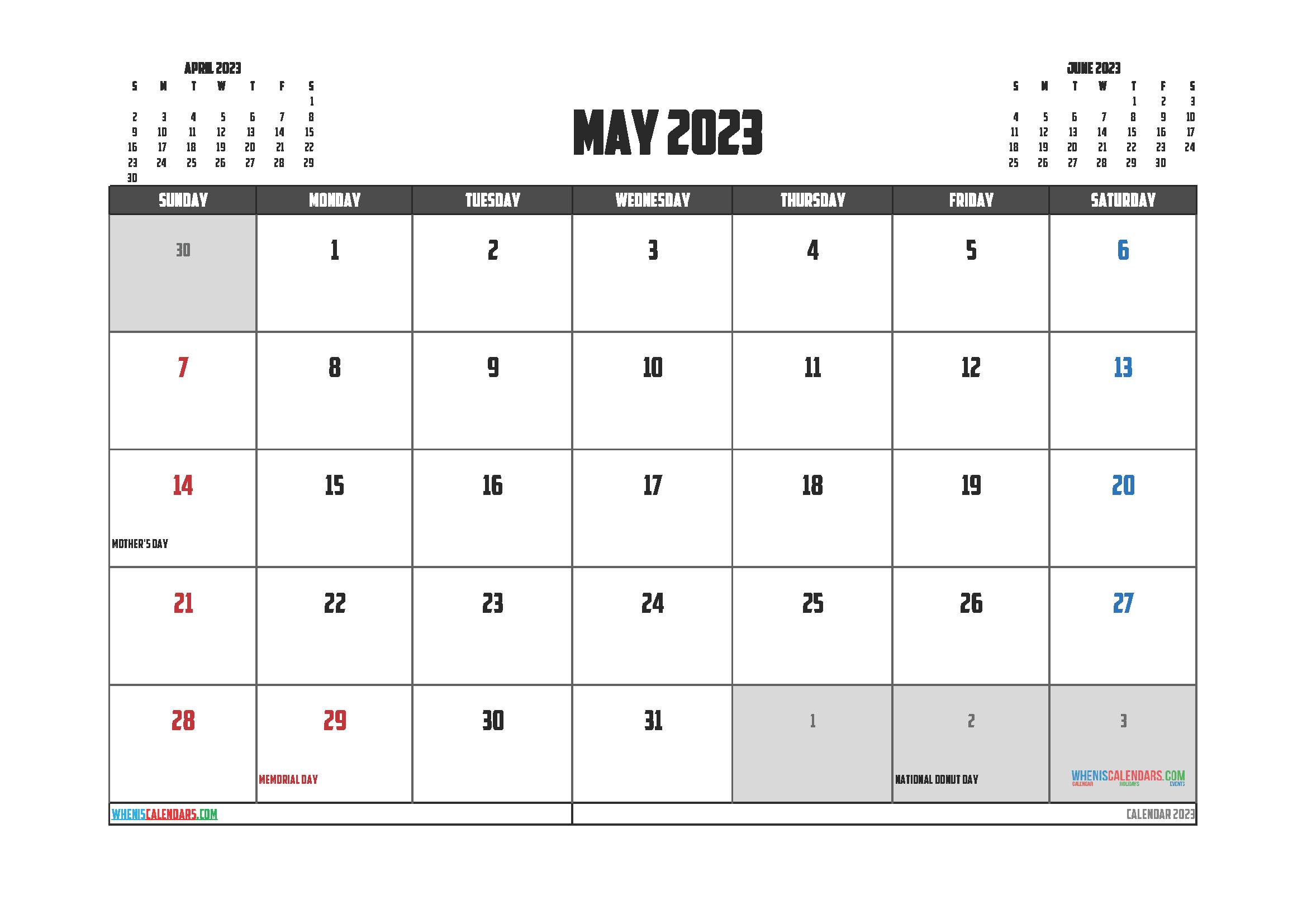 Free Printable May 2023 Calendar