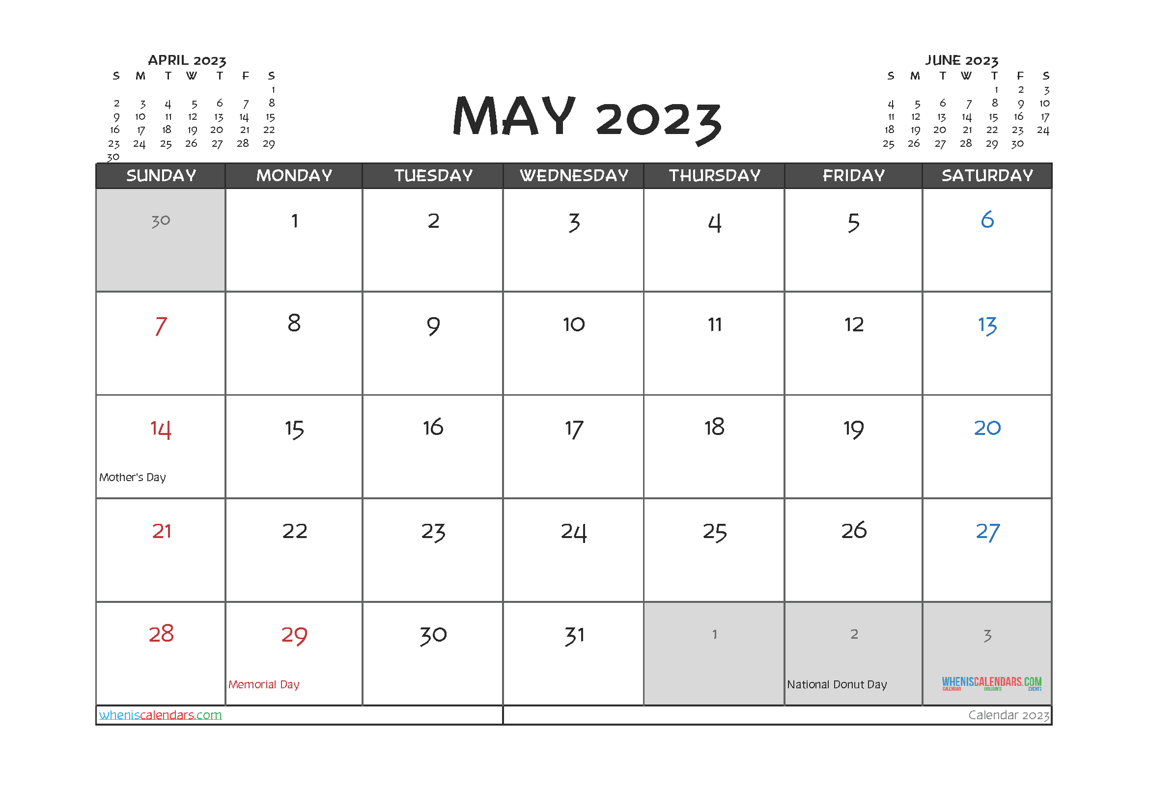 May 2023 Calendar Printable For Free