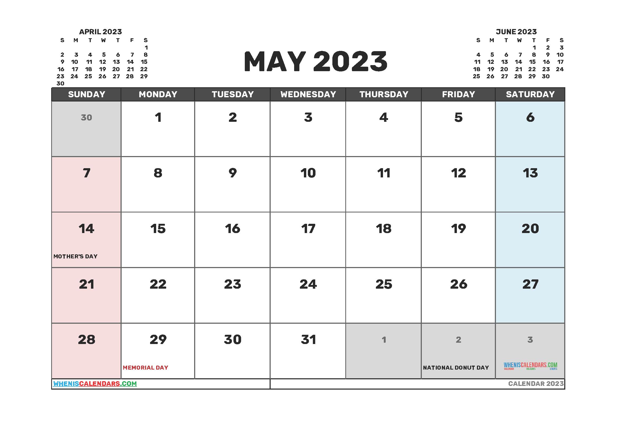 Printable Calendar May 2023 Free