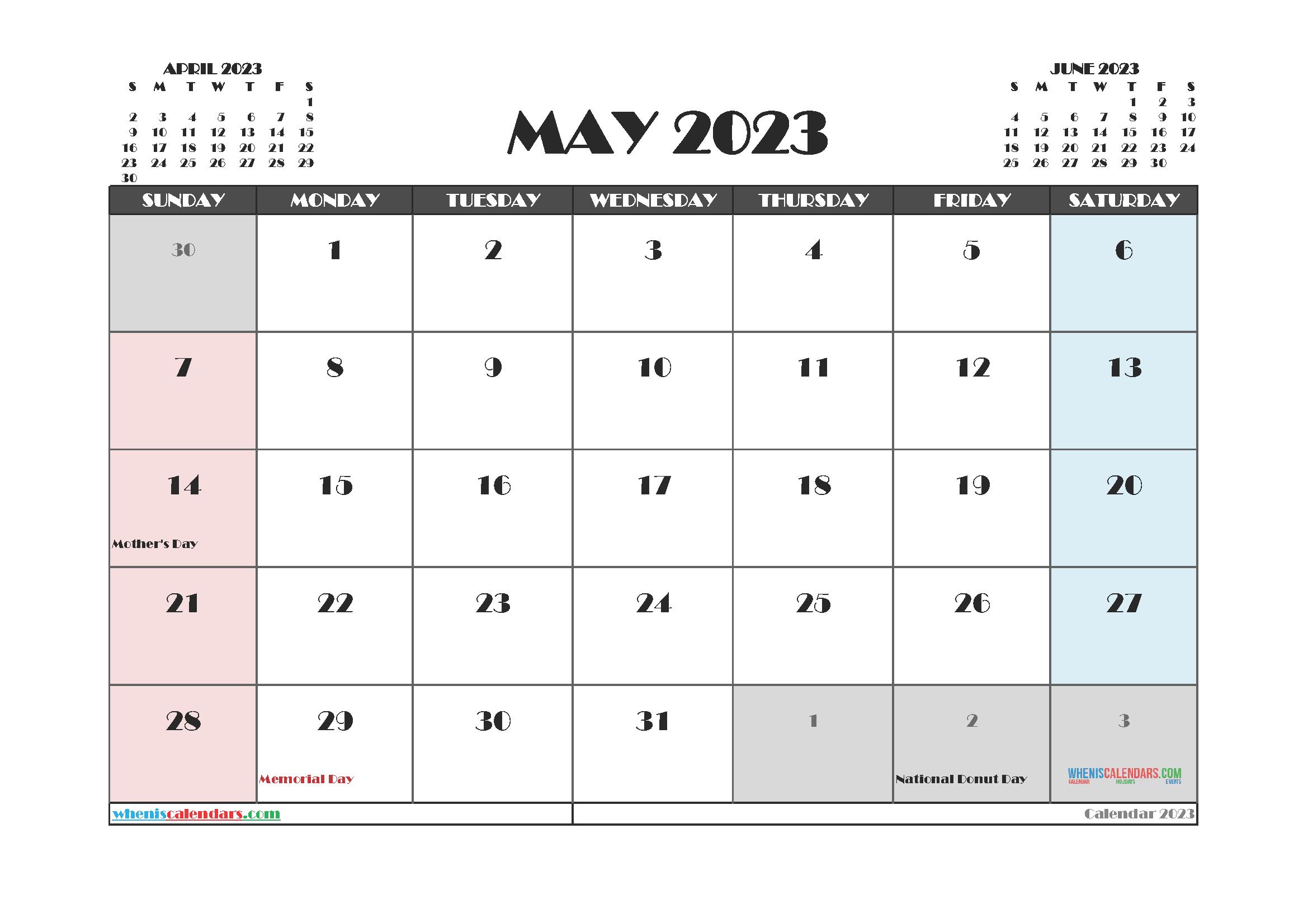 Free May 2023 Printable Calendar PDF
