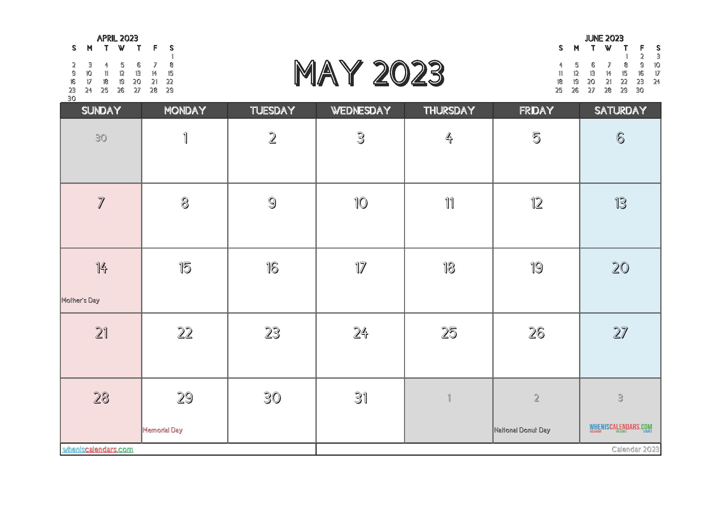 Free May 2023 Printable Calendar
