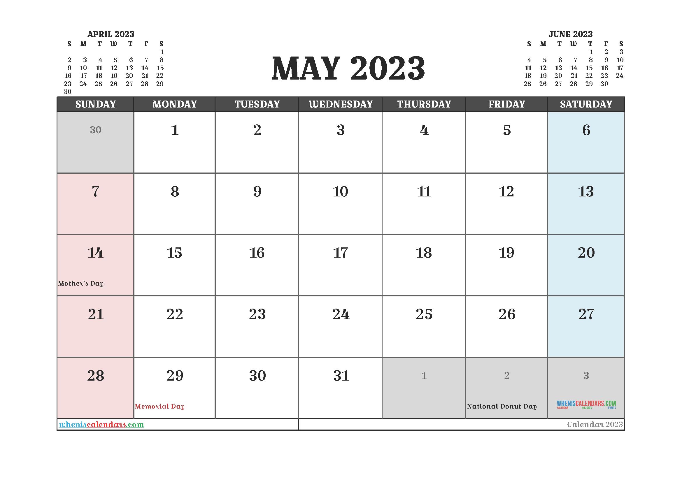 Printable May 2023 Calendar Free