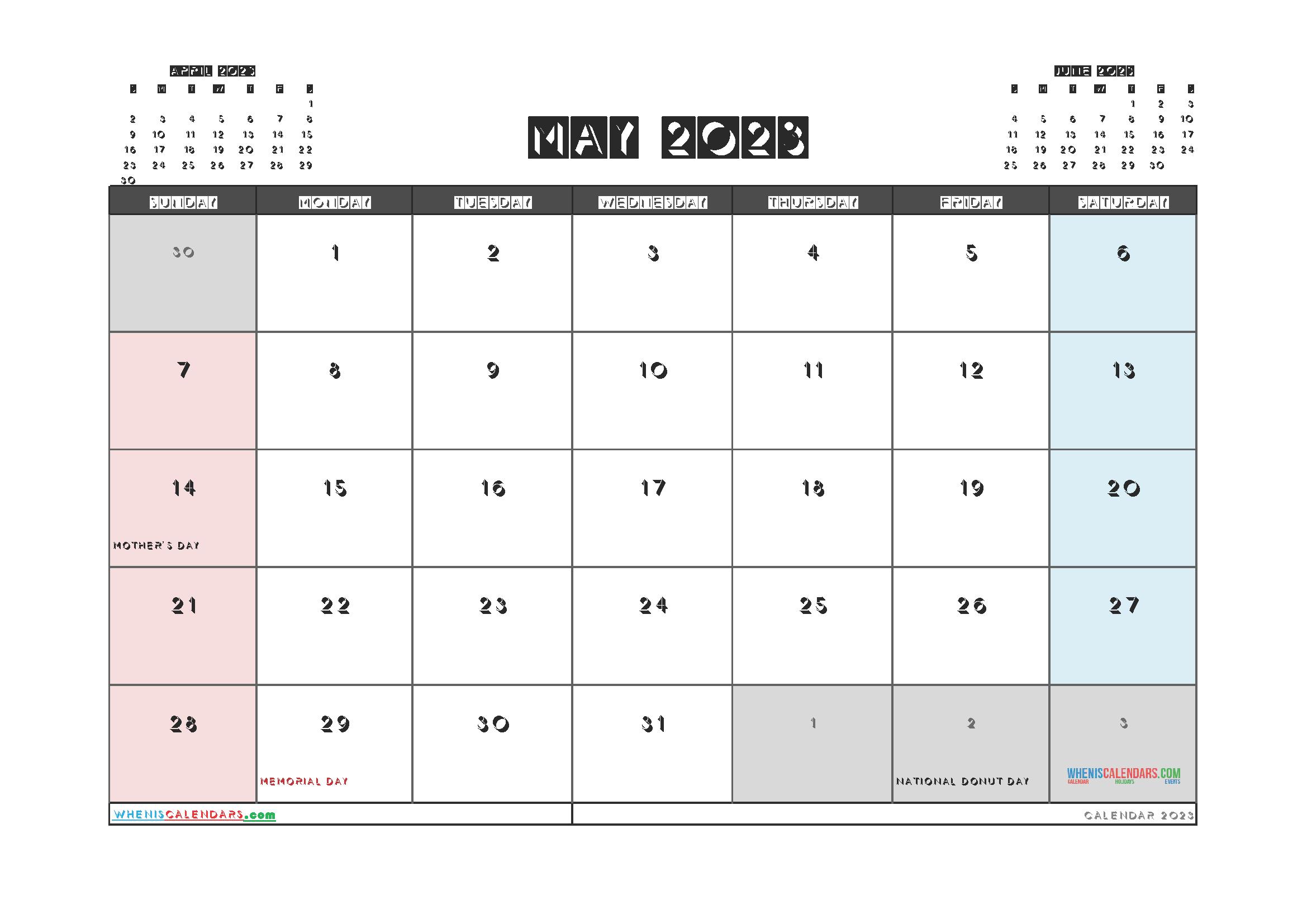 Free Editable May 2023 Calendar