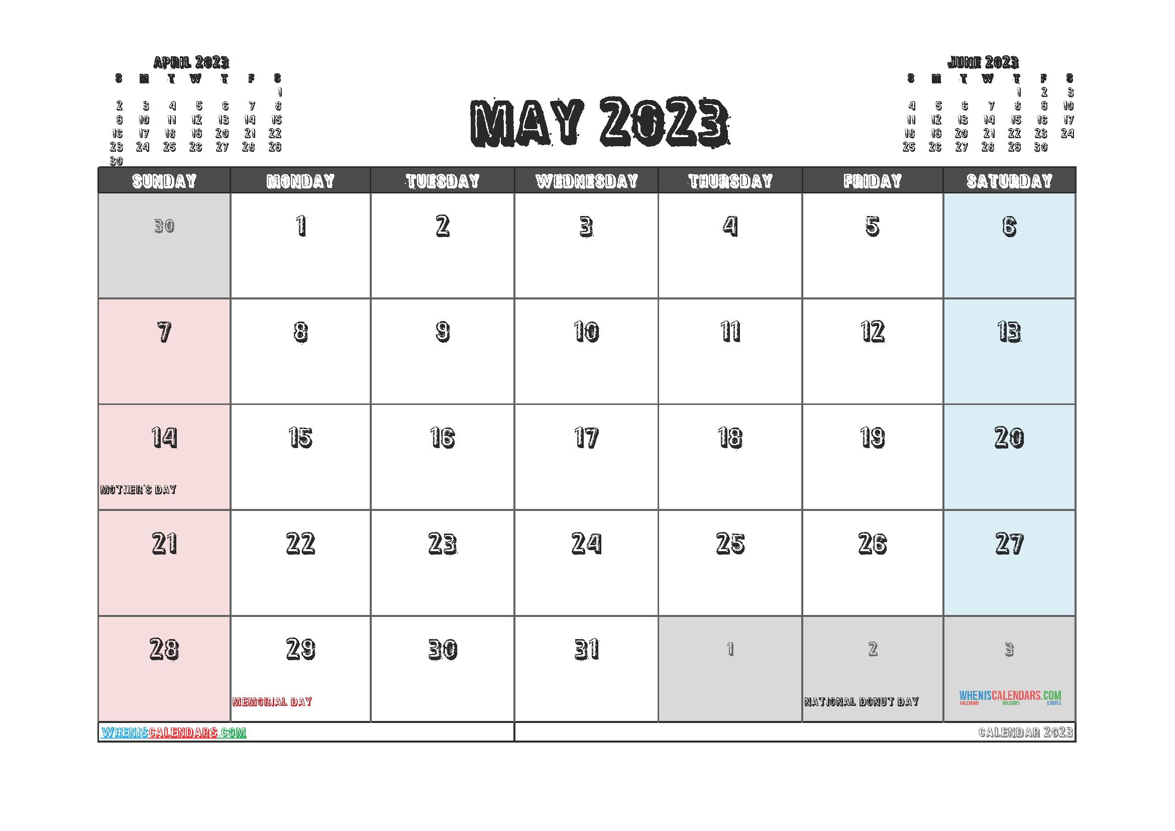 Editable May 2023 Calendar Printable