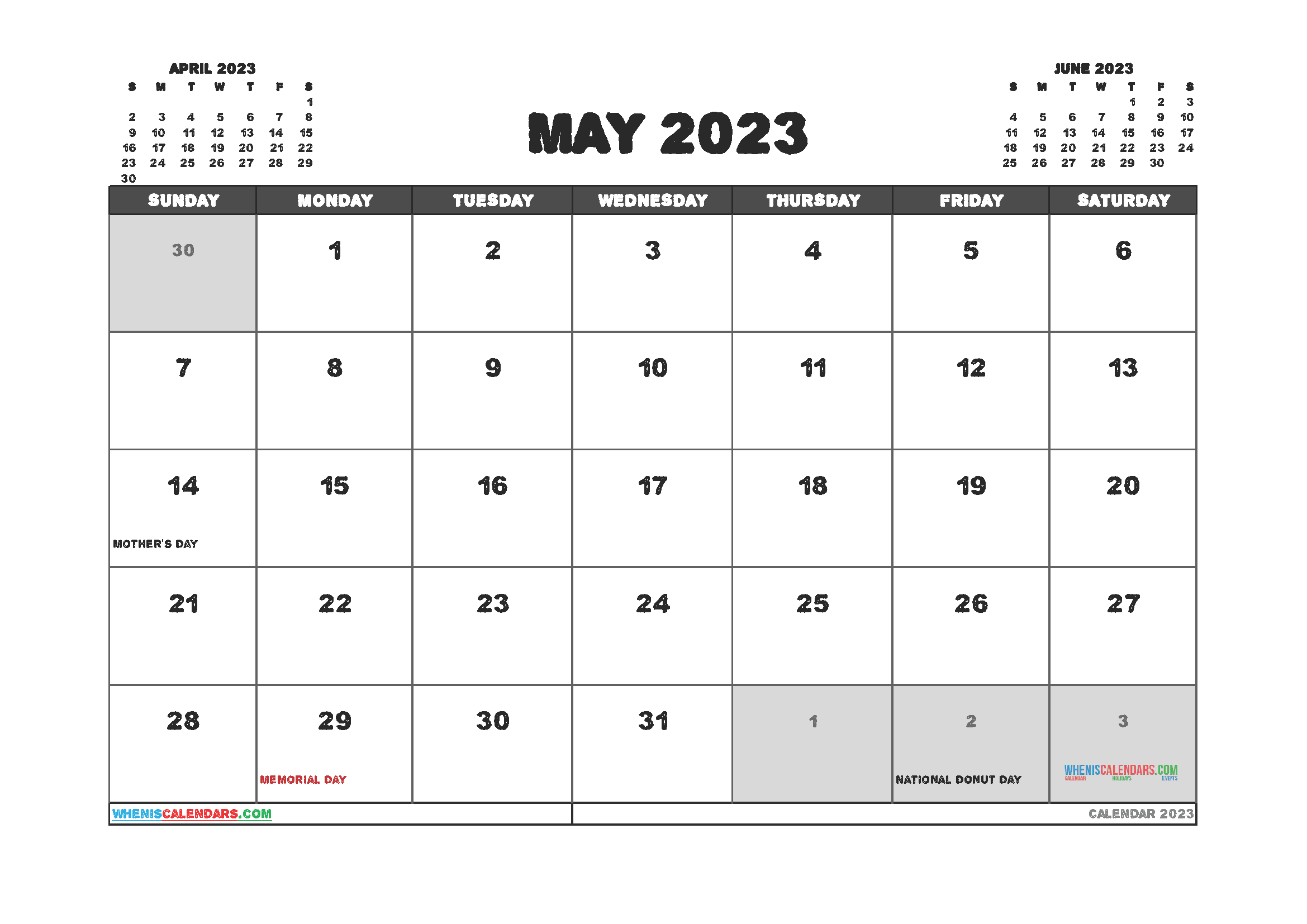 Free Printable Calendar May 2023