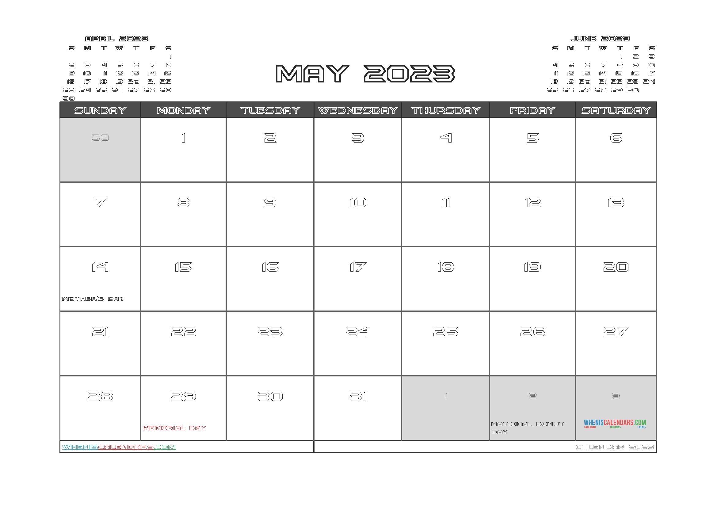 Free Editable Calendar May 2023 PDF