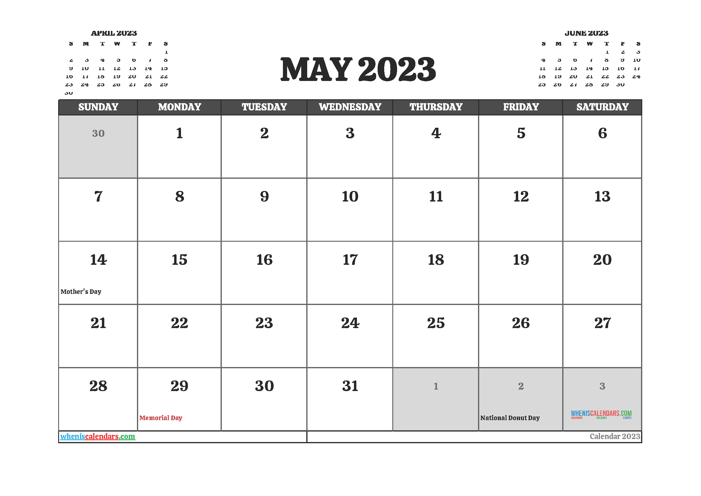 May 2023 Calendar Printable For Free