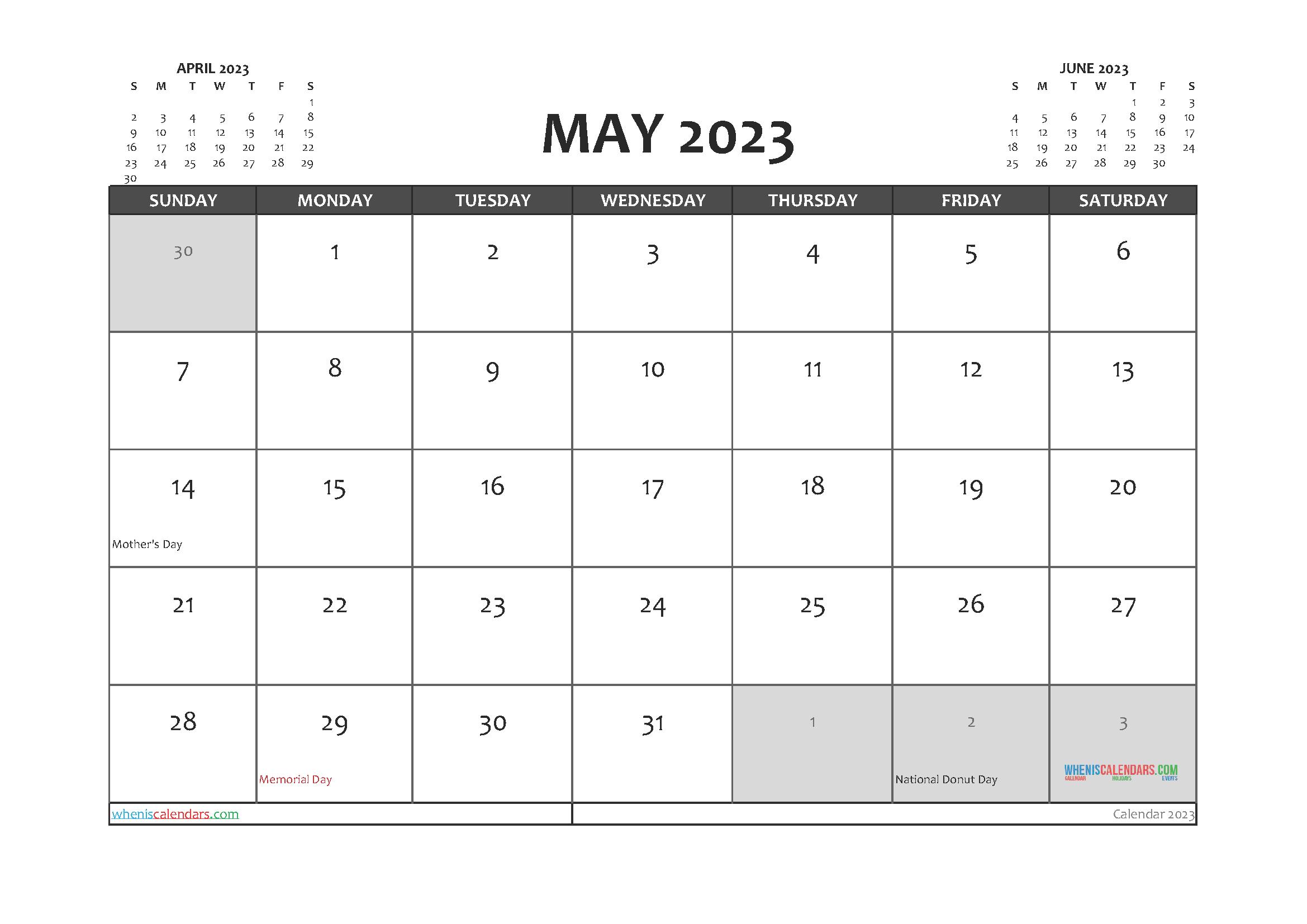 Printable May 2023 Calendar PDF