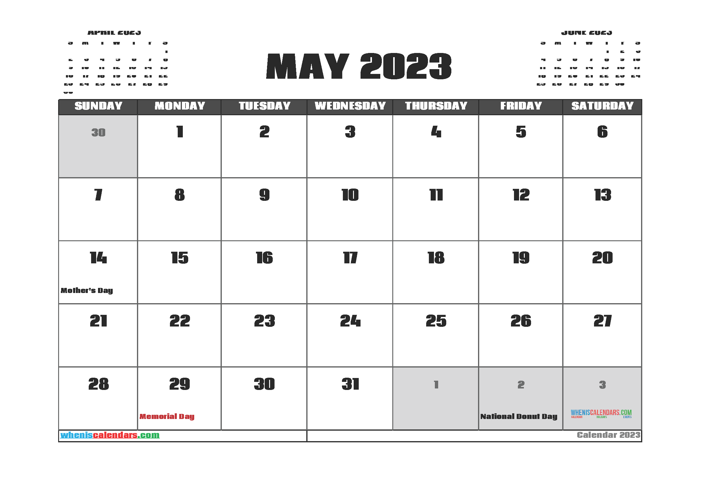 Free Editable May 2023 Printable Calendar