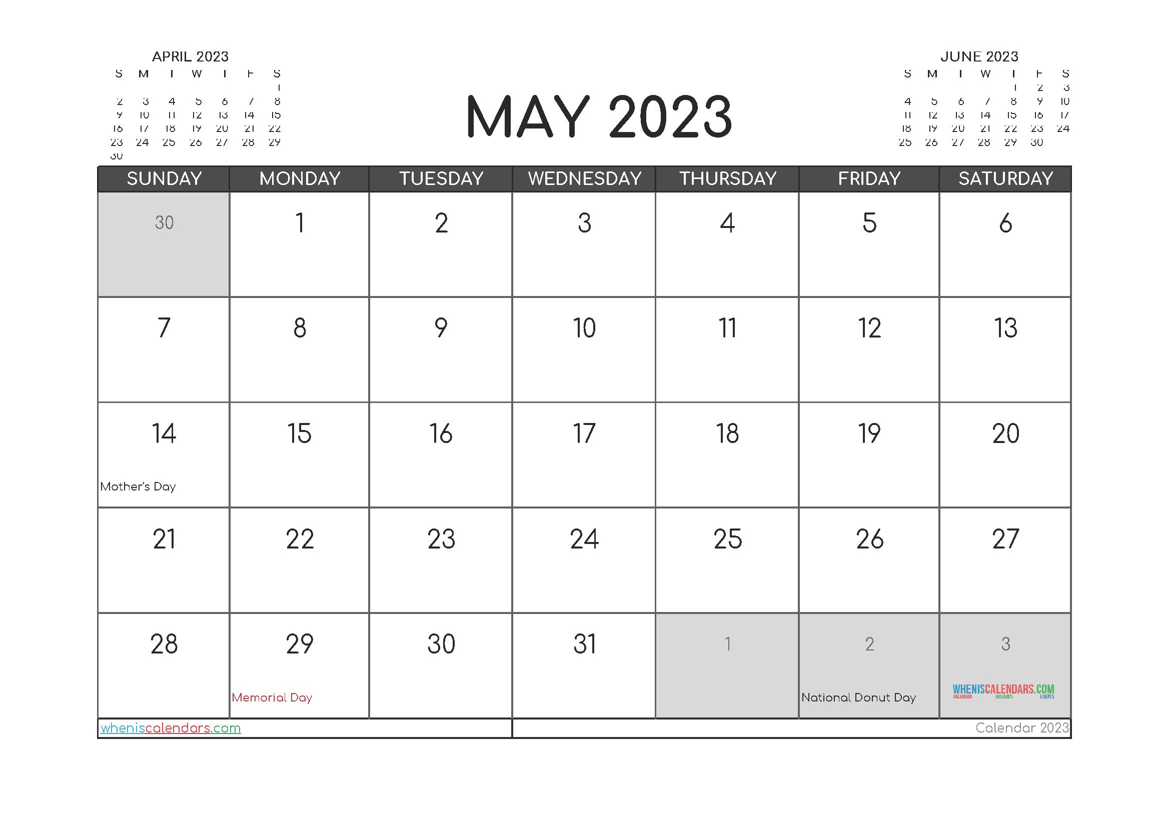 May 2023 Free Calendar Printable