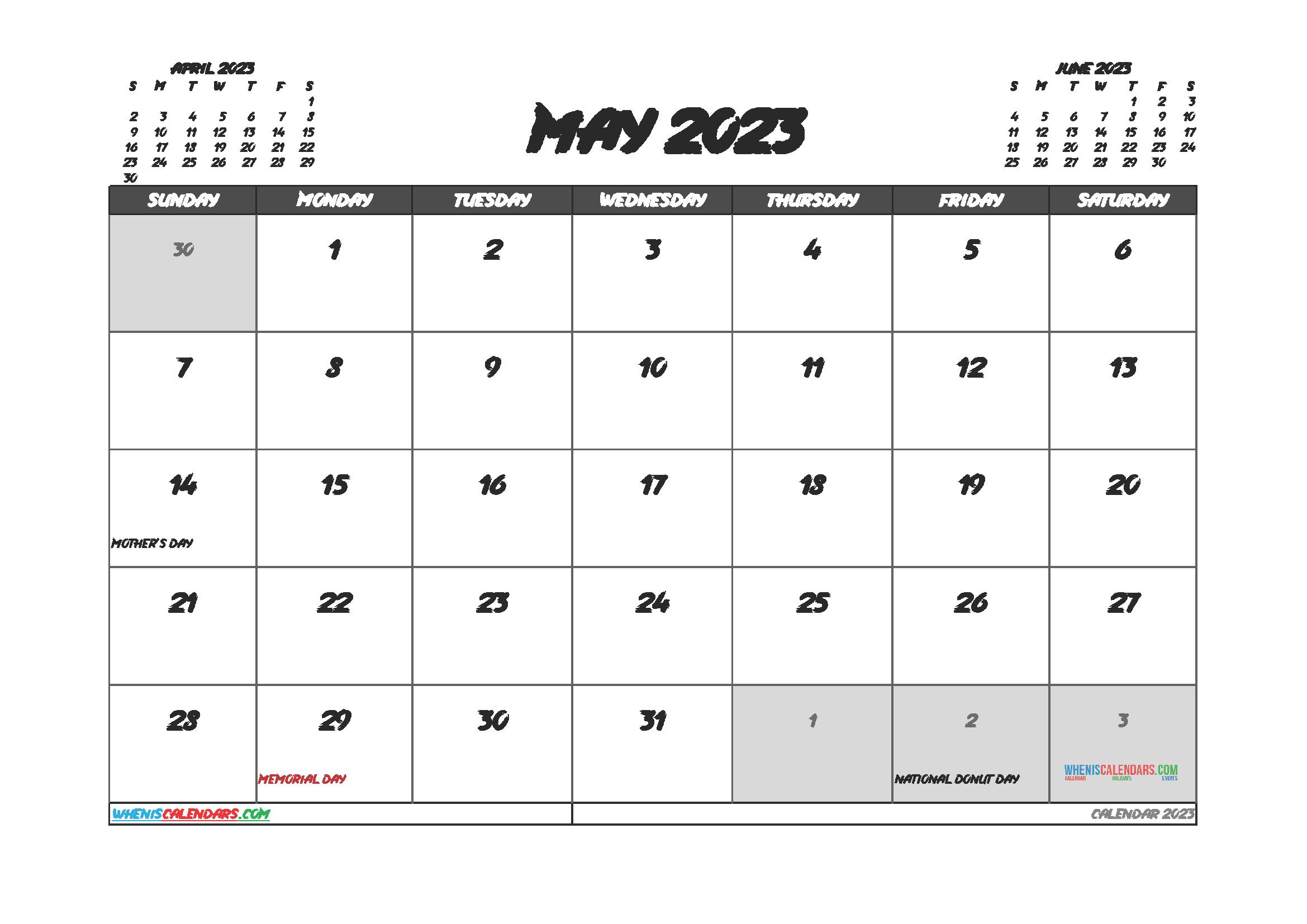May 2023 Calendar Printable Free