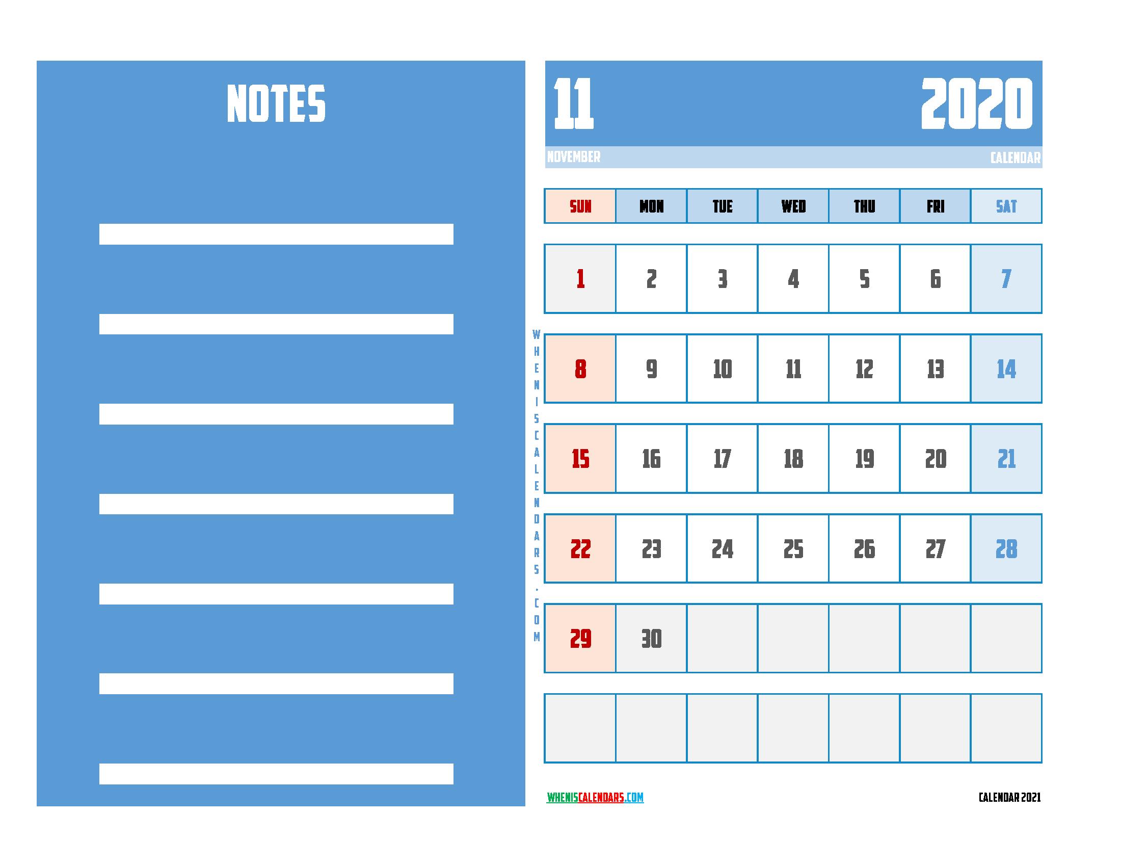 November 2020 Calendar Printable For Free