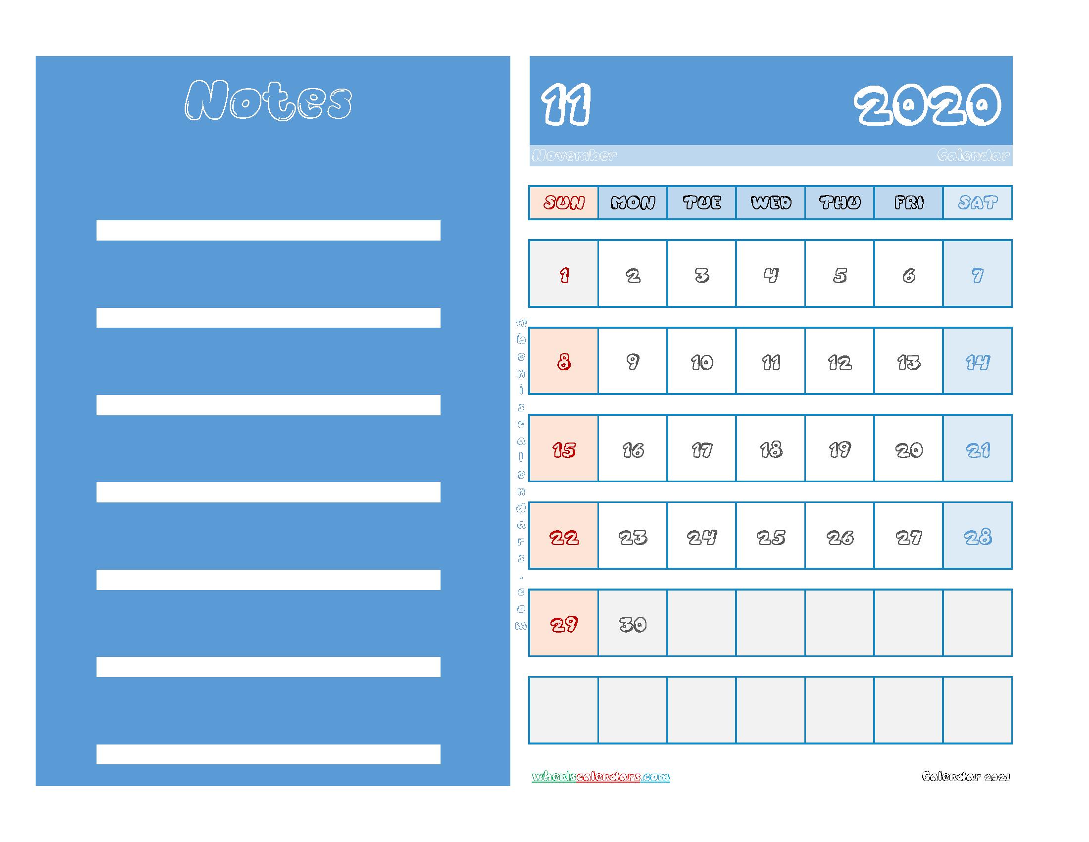 Free November 2020 Printable Calendar PDF