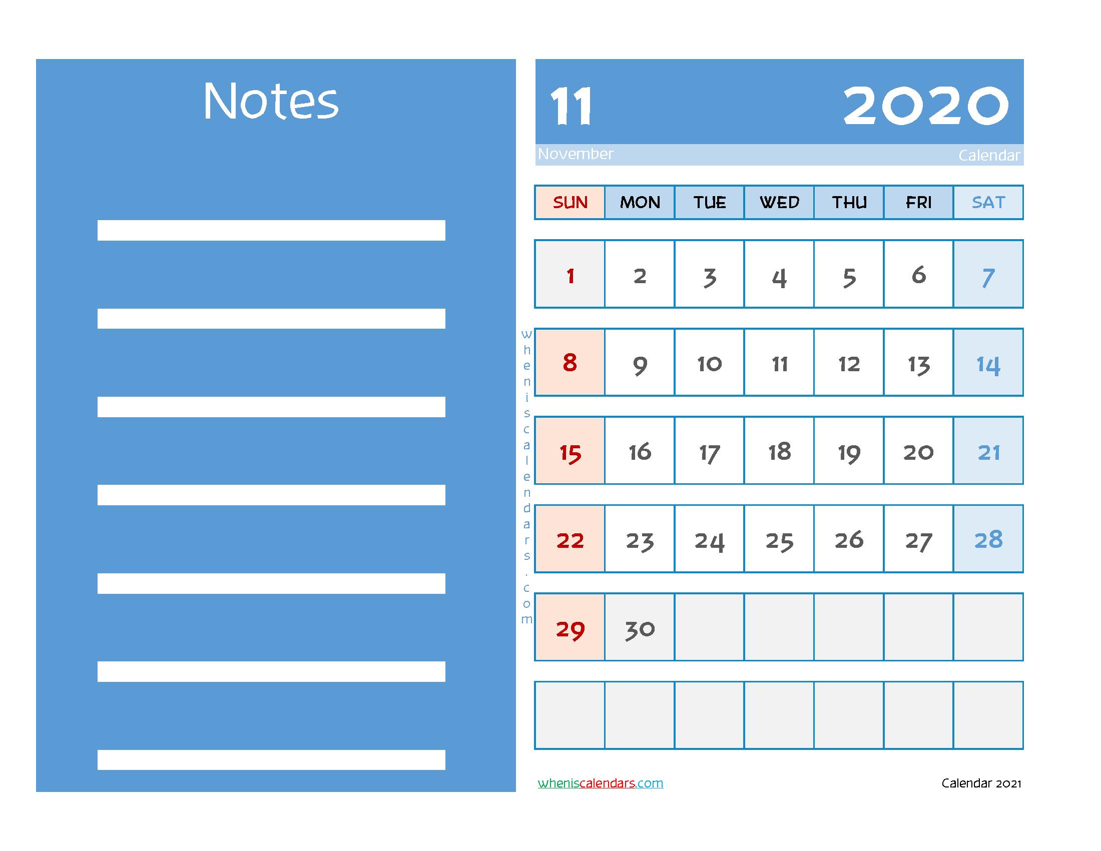 Editable Printable November 2020 Calendar