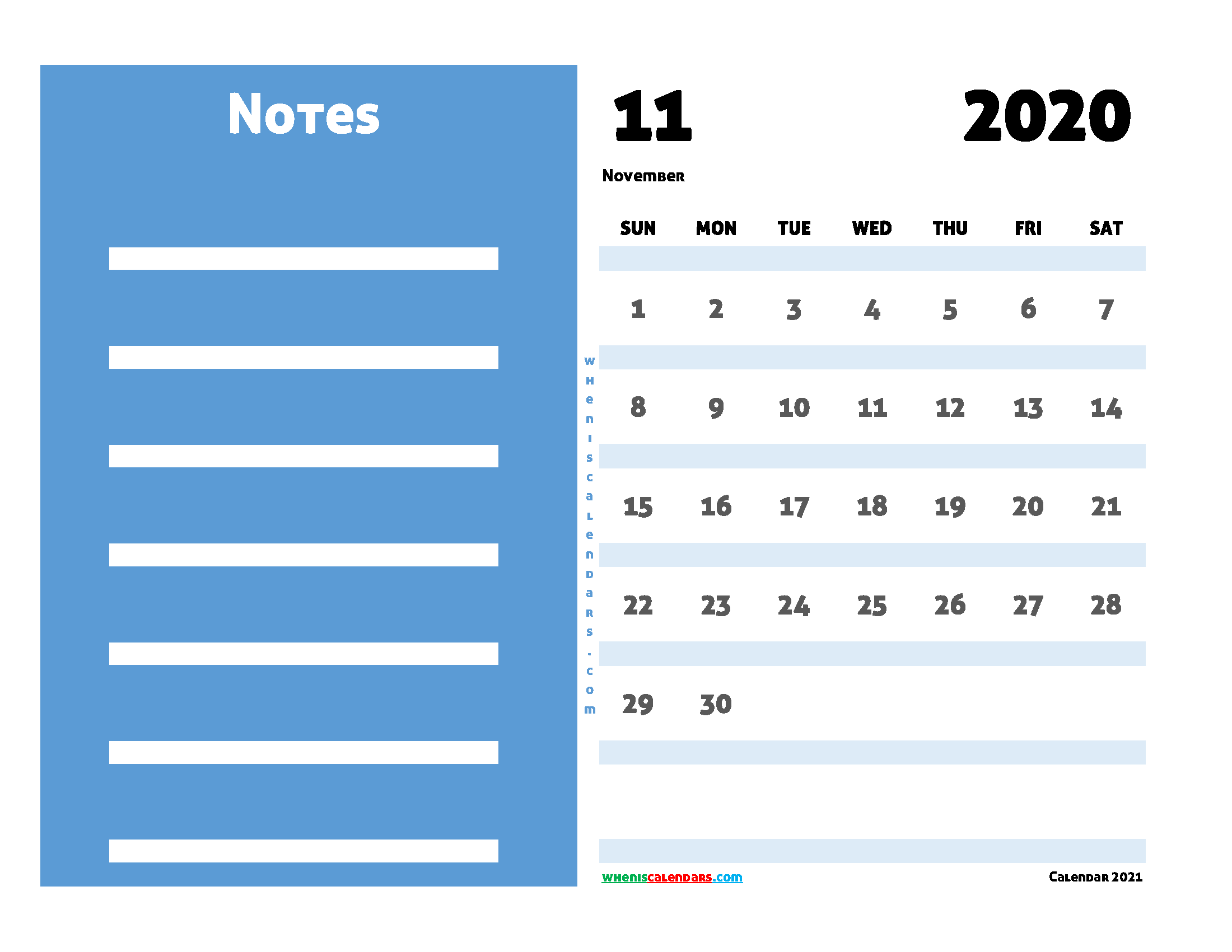 2020 November Calendar Printable Free