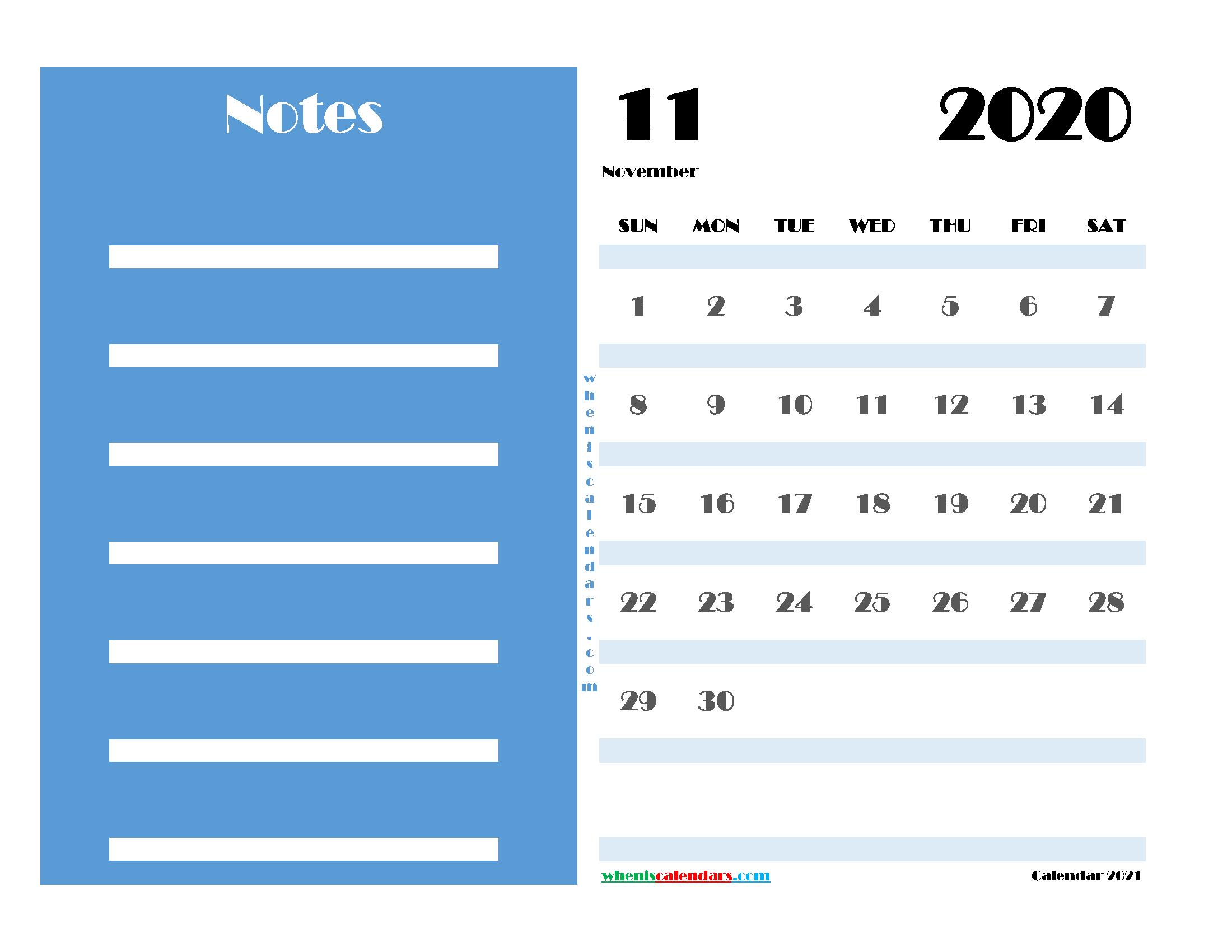 November 2020 Free Calendar Printable