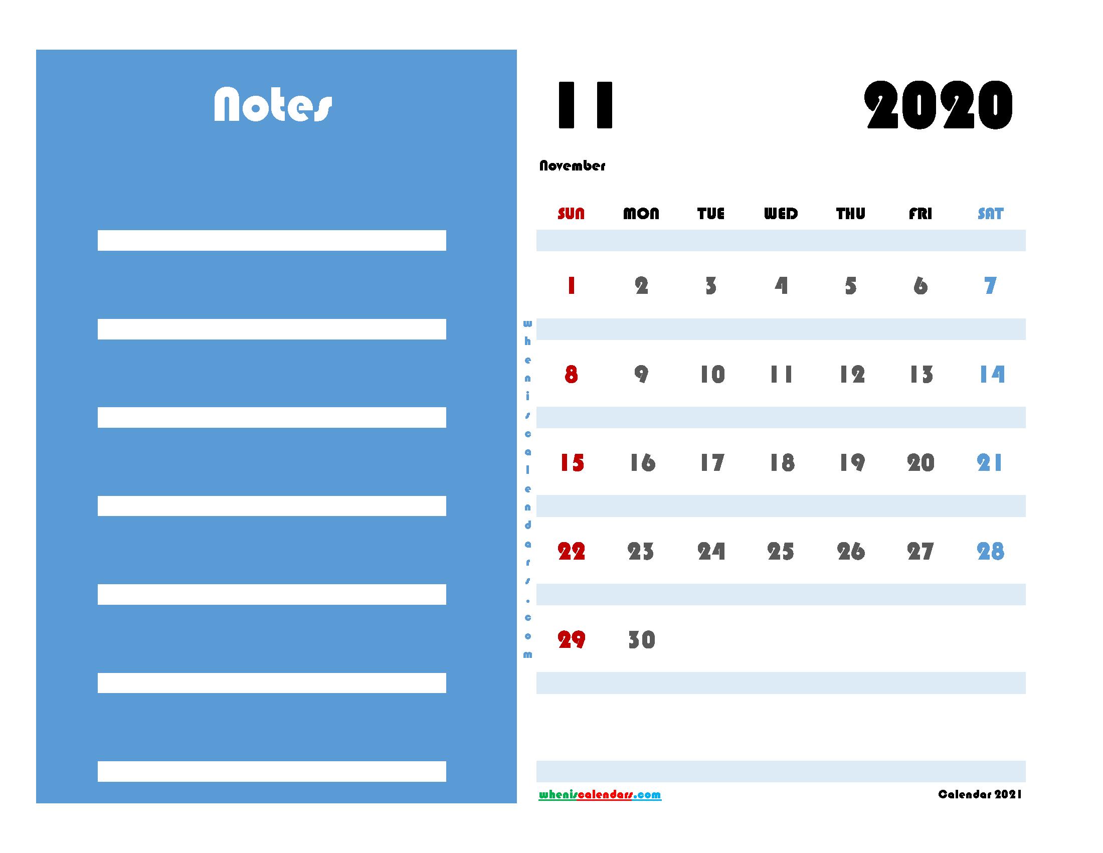 Free Editable November 2020 Calendar