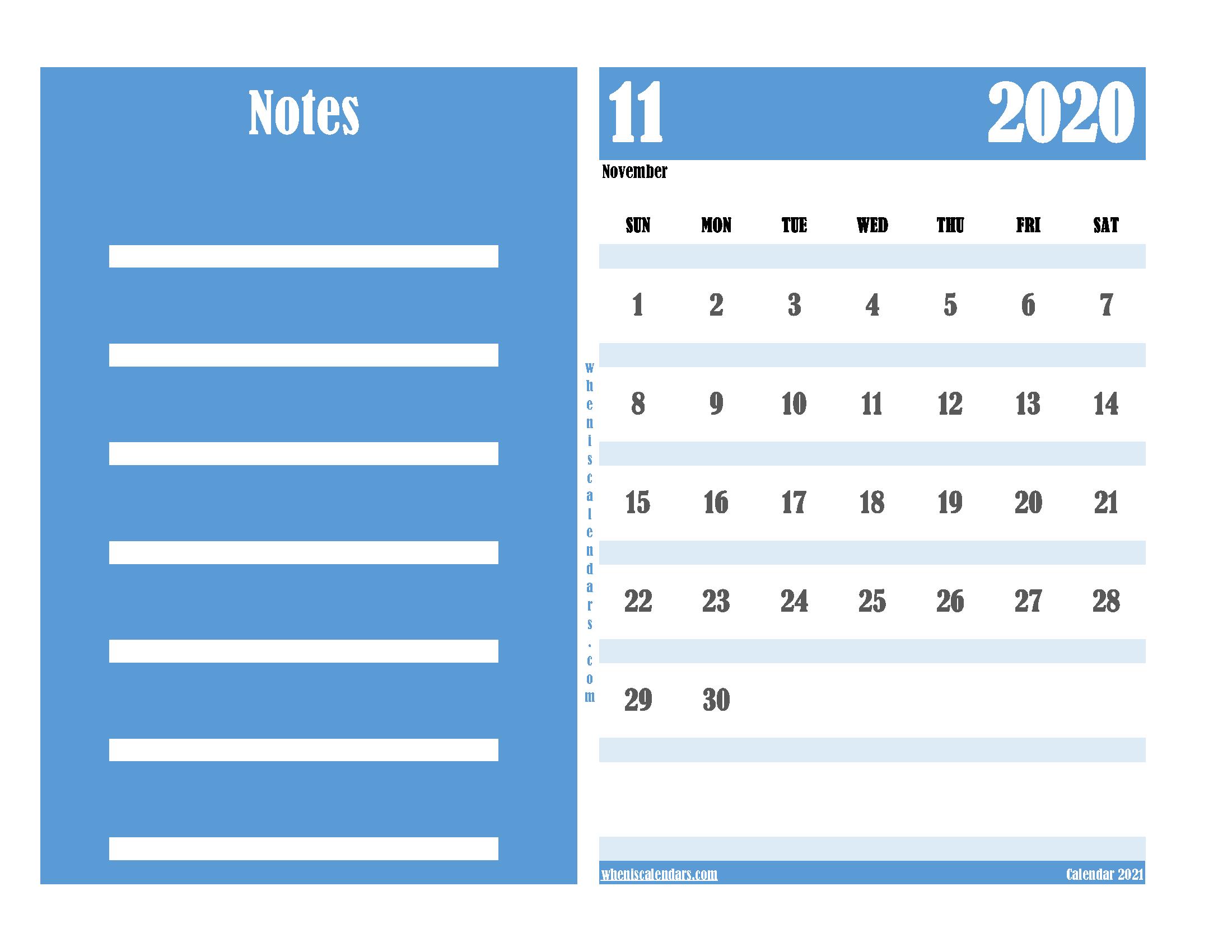 Free Editable Calendar November 2020 PDF