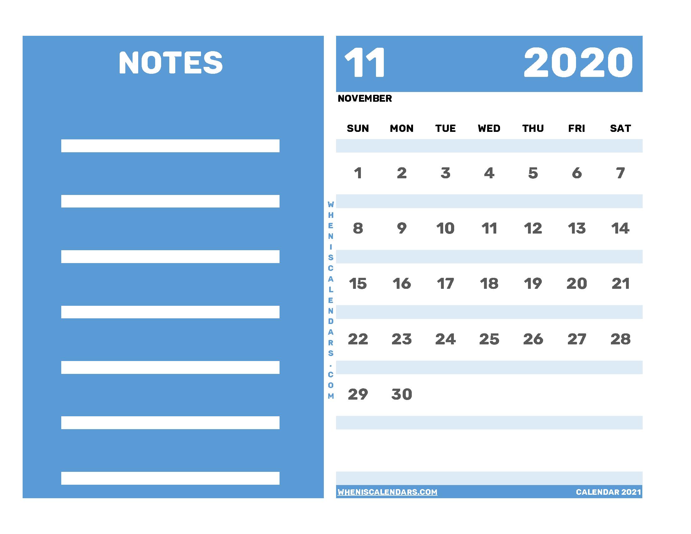 Free Editable November 2020 Printable Calendar